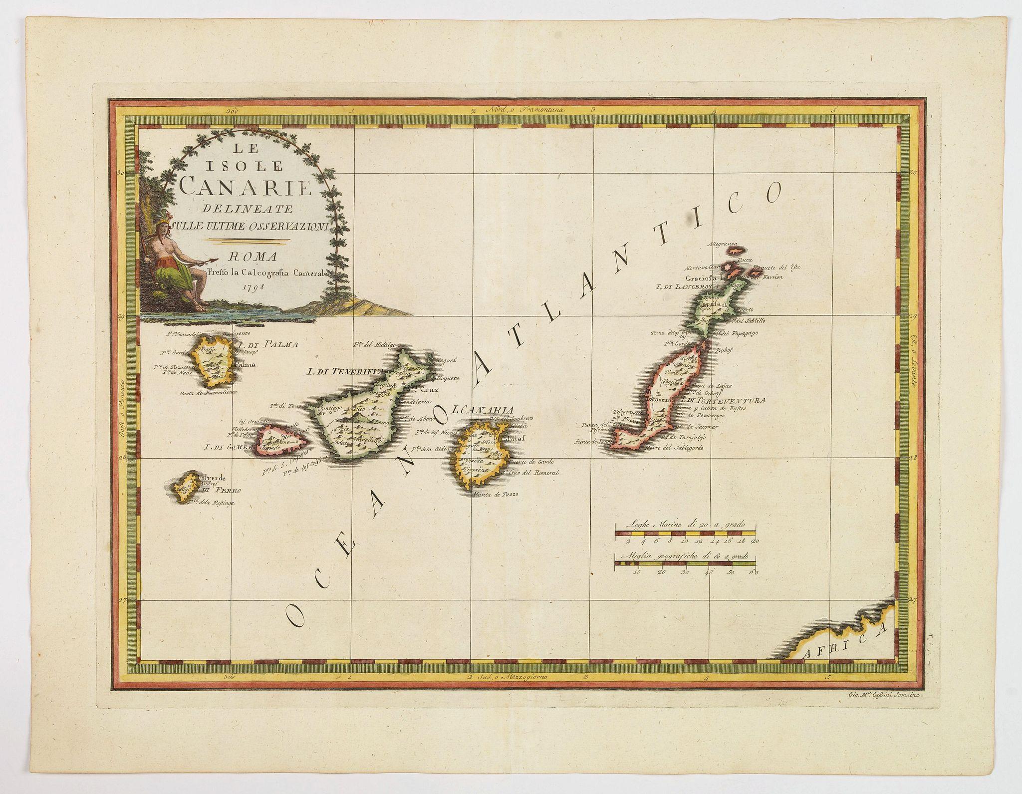 CASSINI, G.M. -  Le Isole Canarie Delineate Sulle Ultime Osservazioni.