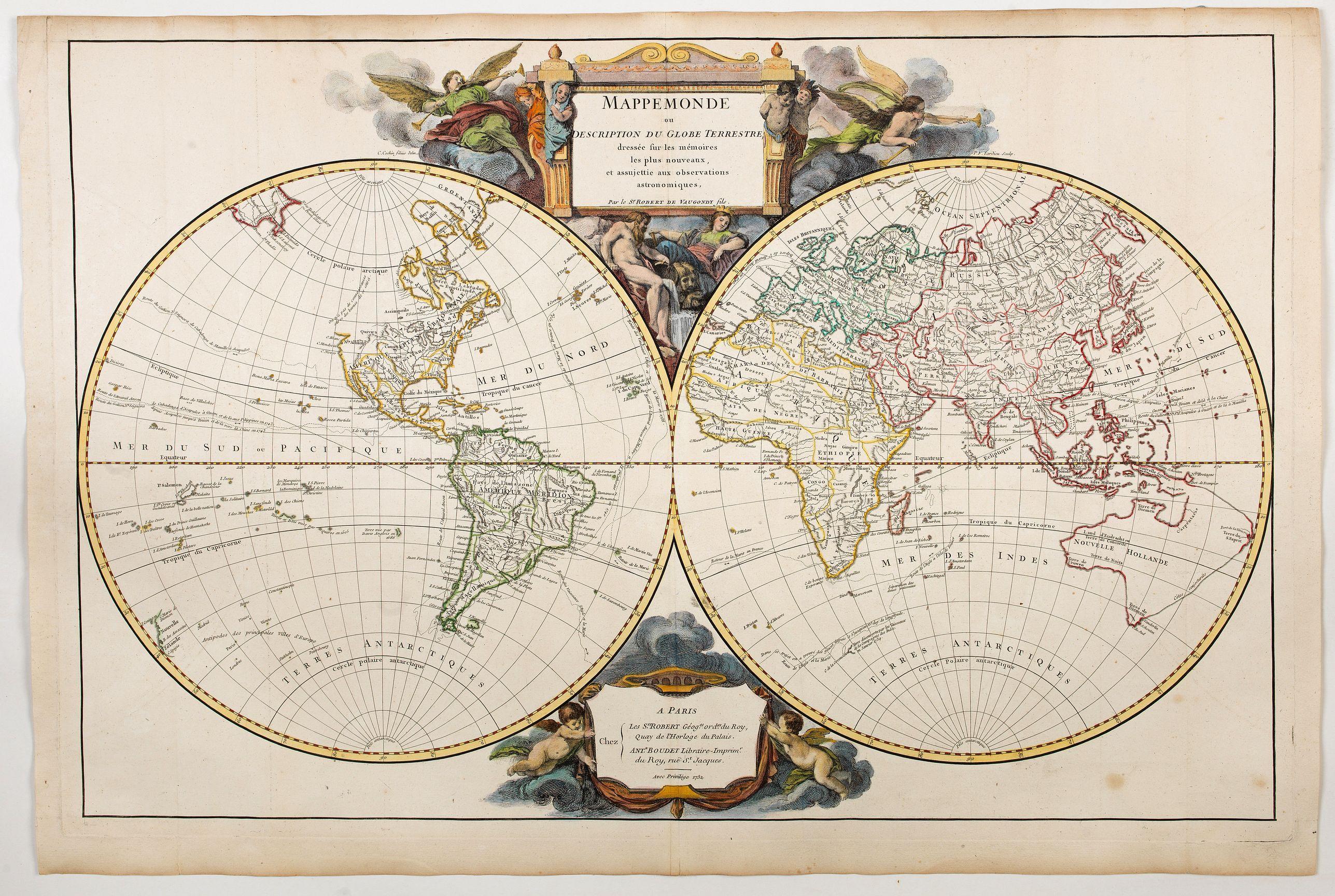 VAUGONDY, de R. -  Mappemonde ou Description du Globe Terrestre. . .