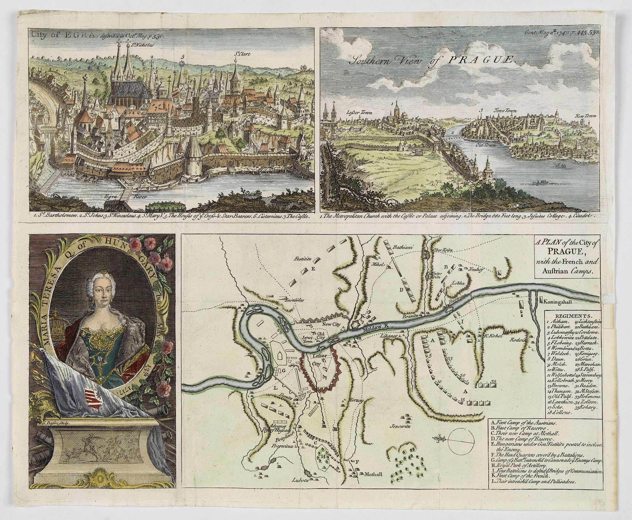 THE GENTLEMAN'S MAGAZINE. - A Plan of the City of Prague, with the French and Austrian Camps.