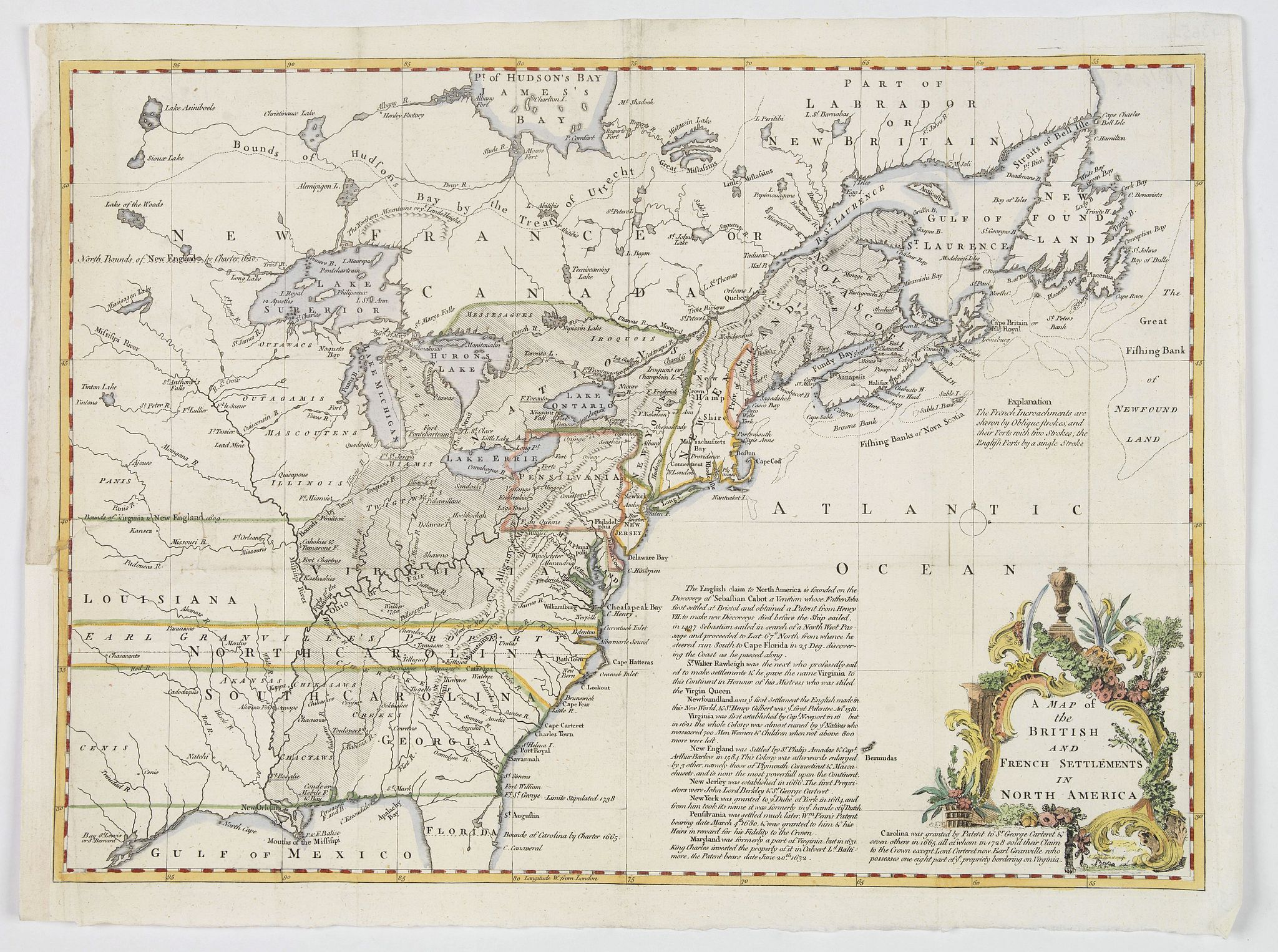 THE GENTLEMANS MAGAZINE. -  A Map of the British and French Settlements in North America.