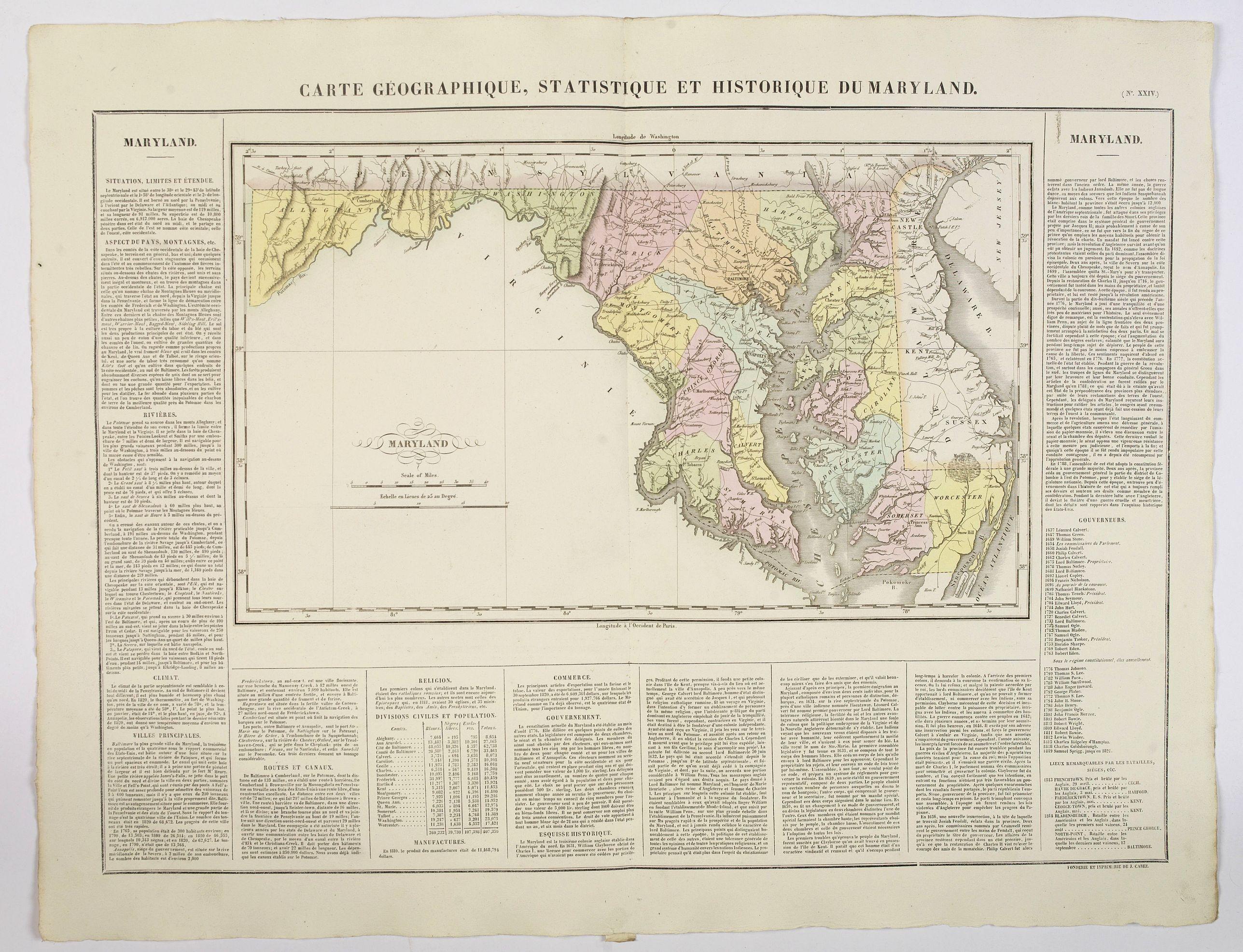 BUCHON, J.A. -  Carte Geographique, Statistique ey Historique du Maryland.