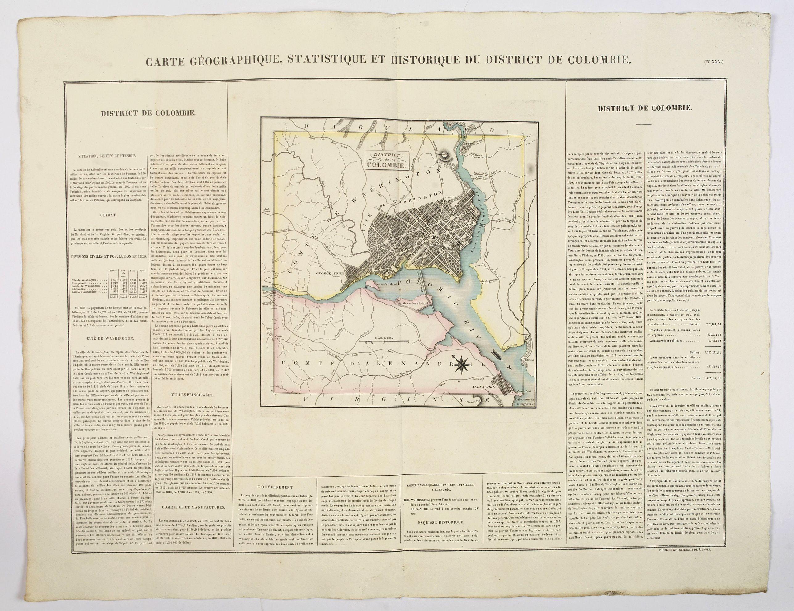 BUCHON, J.A. -  Carte Geographique, Statistique ey Historique du District de Colombie.