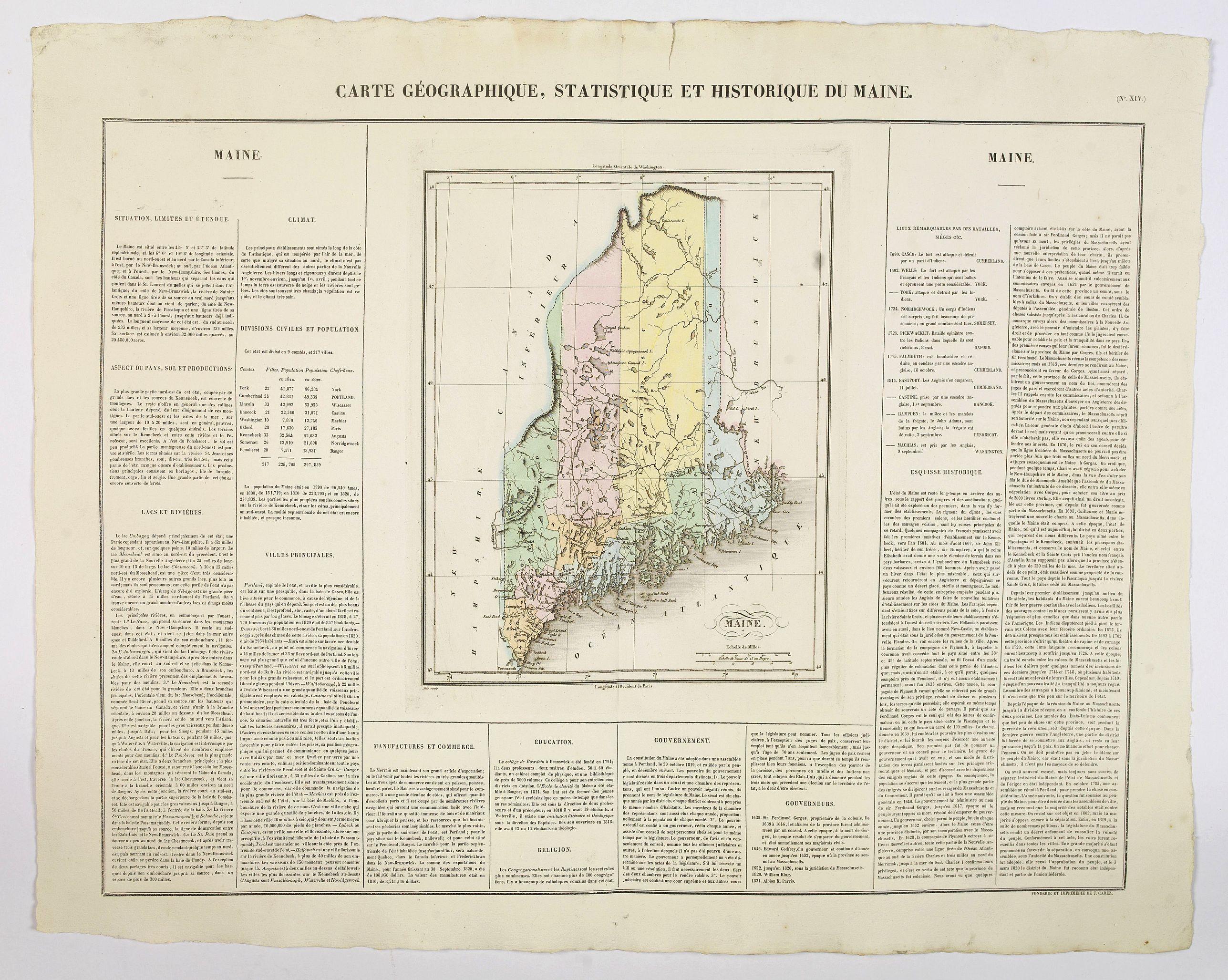 BUCHON, J.A. -  Carte Geographique, Statistique et Historique du Maine.