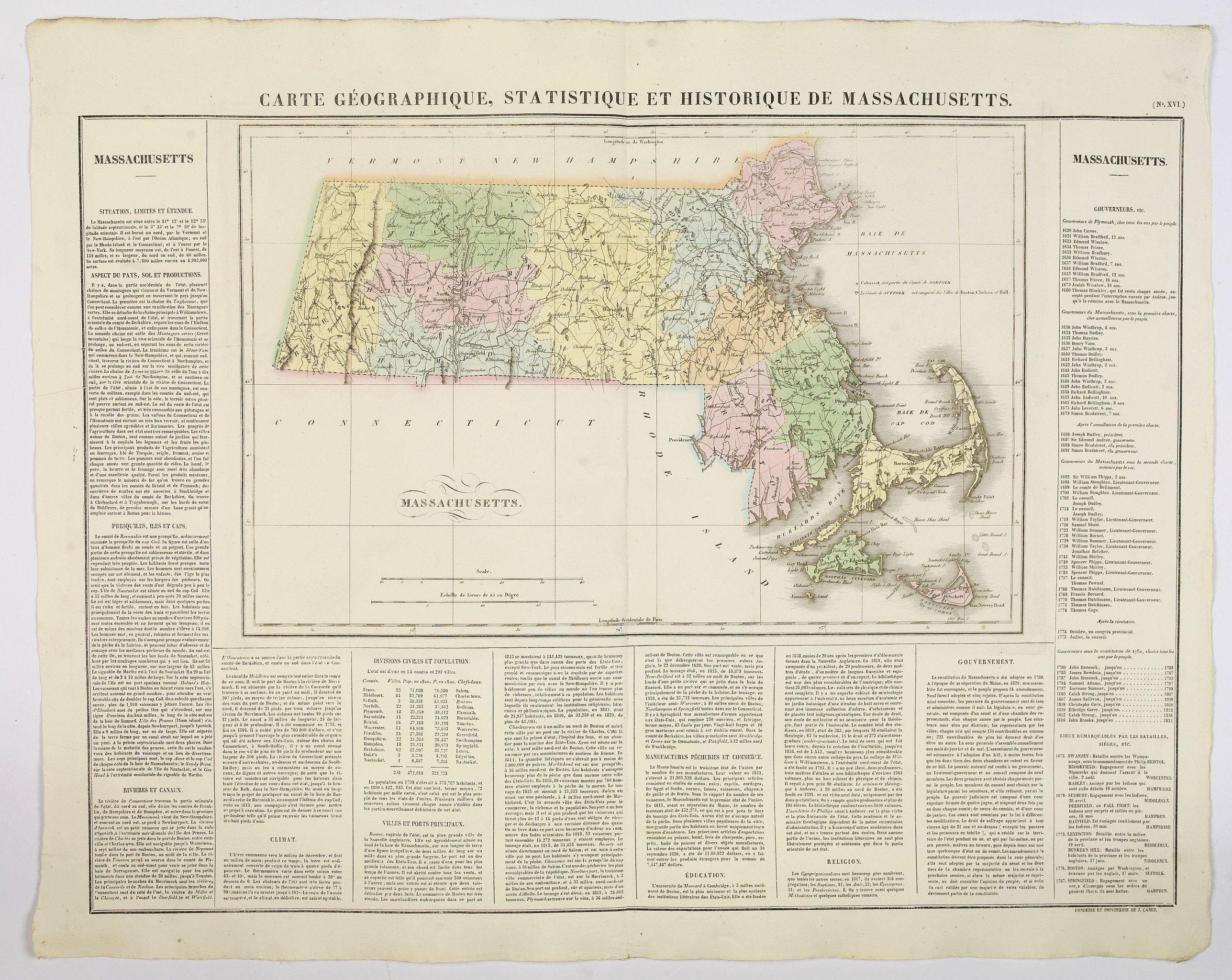 BUCHON, J.A. -  Carte Geographique, Statistique et Historique de Massachusetts.