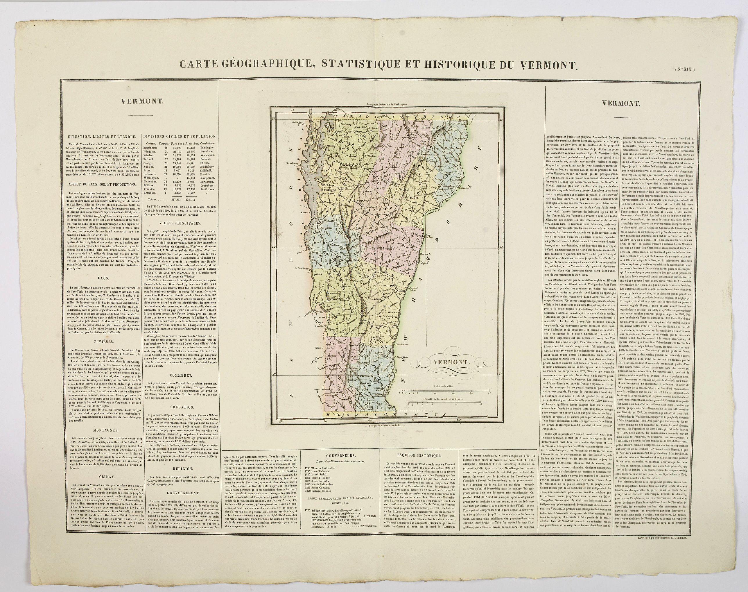 BUCHON, J.A. -  Carte Geographique, Statistique et Historique du Vermont.