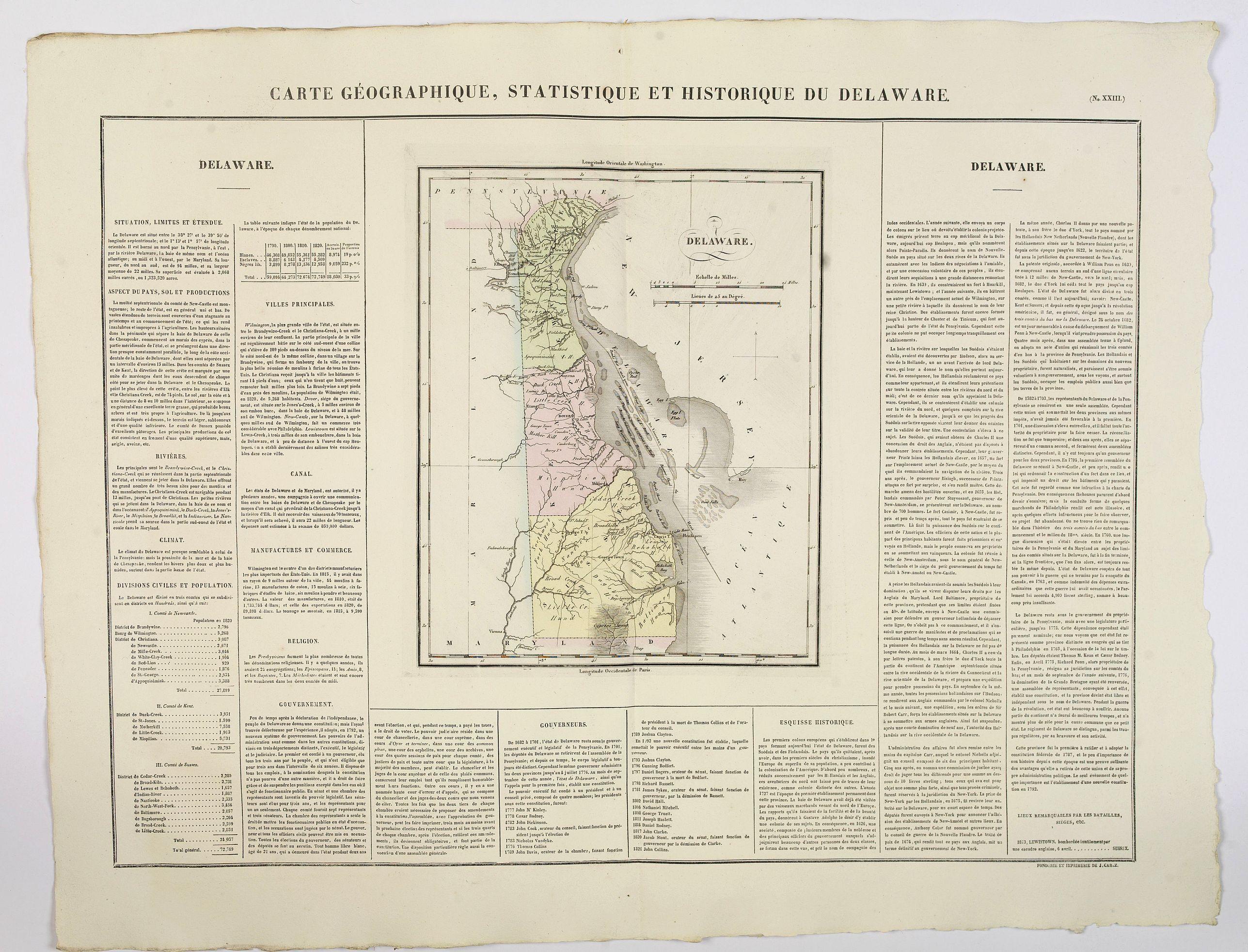 BUCHON, J.A. -  Carte Geographique, Statistique et Historique du Delaware.