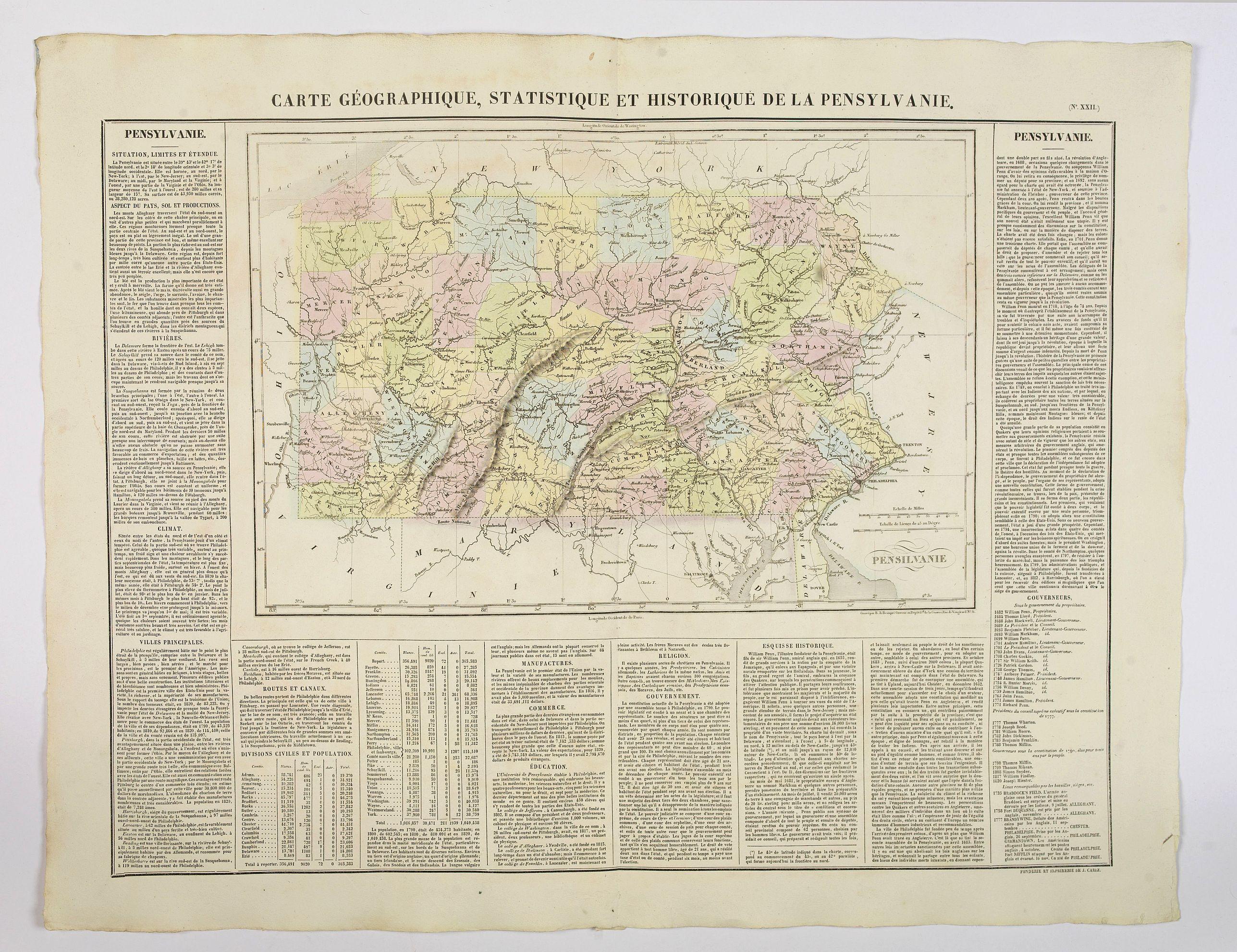 BUCHON, J.A. -  Carte Géographique, Statistique et Historique de la Pensylvanie.