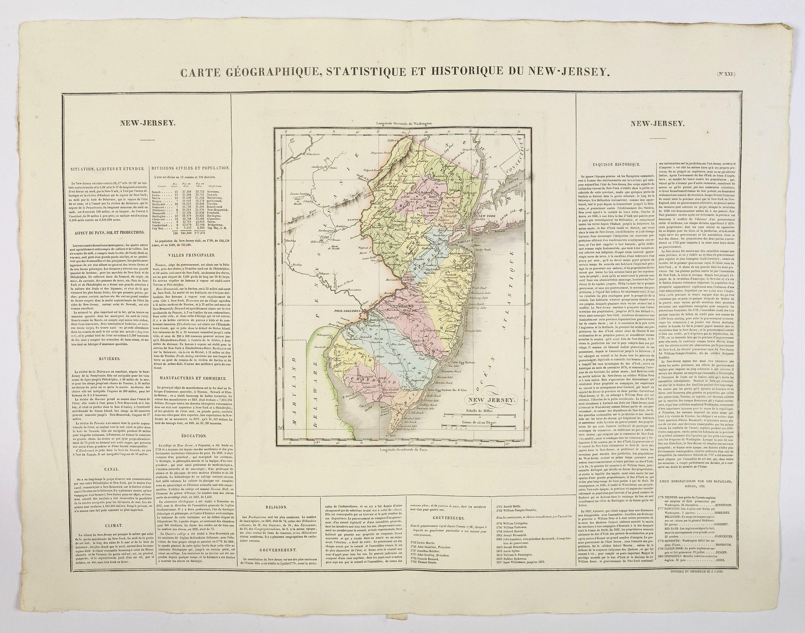 BUCHON, J.A. -  Carte Géographique, Statistique et Historique du New-Jersey.