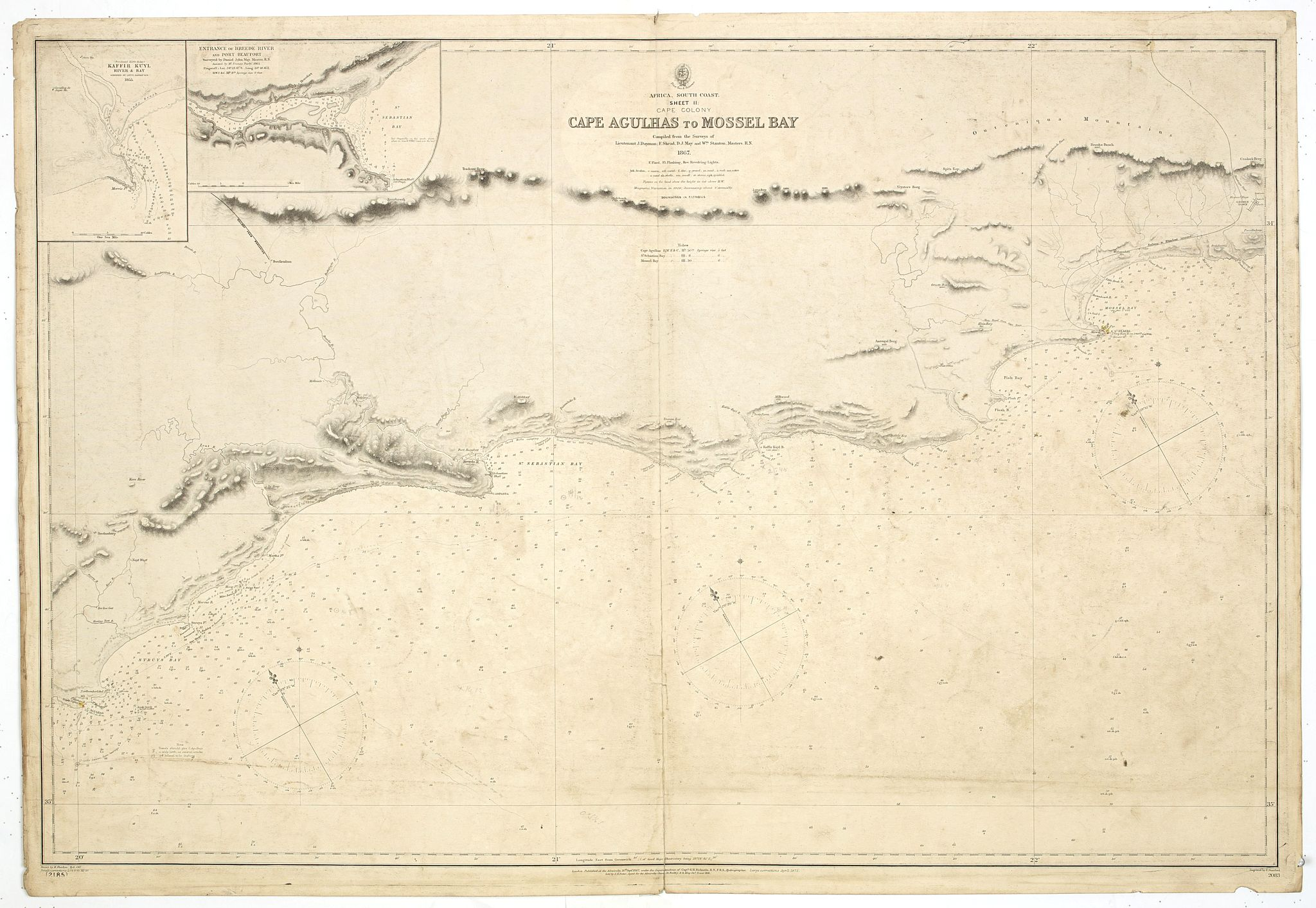 BRITISH ADMIRALTY CHART. -  Africa south coast sheet II Cape Colony Cape Agulhas to Mossel Bay compiled from the surveys of Lieutenant J Dayman 1867.