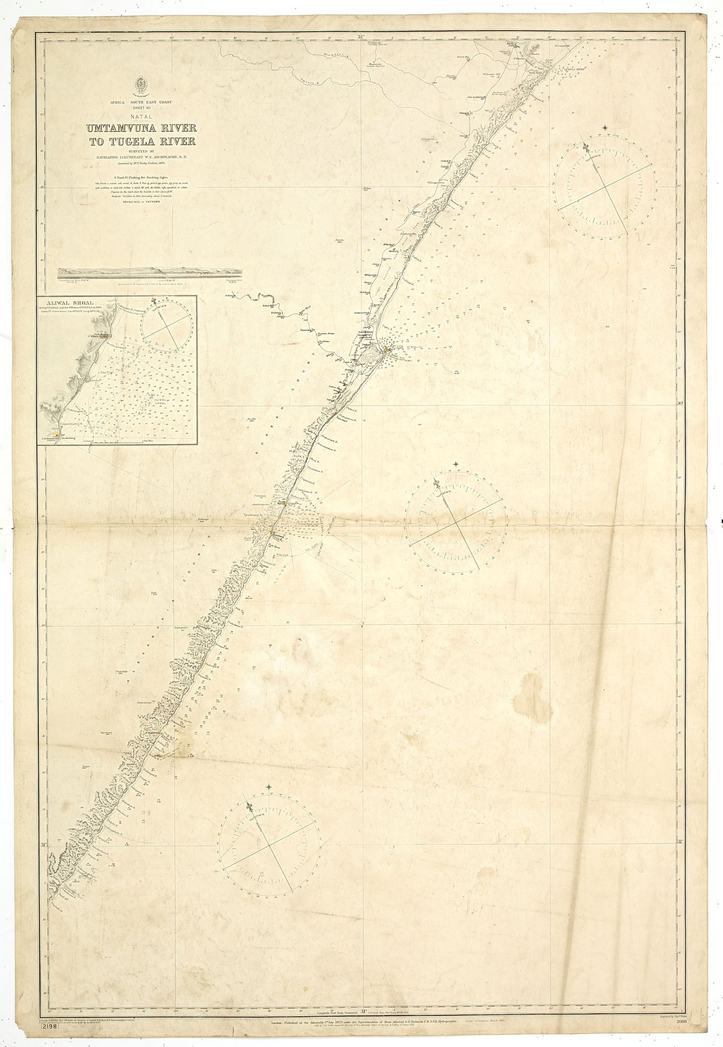BRITISH ADMIRALTY CHART. -  Africa south east coast Sheet VII. Umtavuna River to Tugela River With two coastal profiles Surveyed by Navigating Lieutenant W.e. Archdeacon, R. N. Assisted by Mr. F. Purdy, Civilian, 1872…