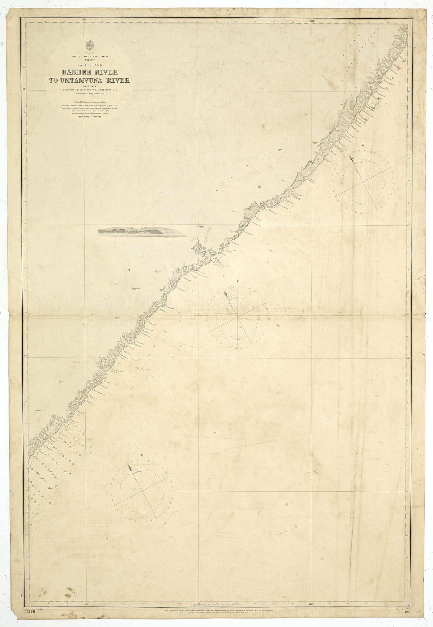BRITISH ADMIRALTY CHART. - Africa - South East Coast Sheet VI Kaffirland Banshee River to Umtamuuna River Surveyed by Navigating Lieutenant W. E. Archdeacon. R.N. Assisted by Mr F. Purdy, Civilian 1872…