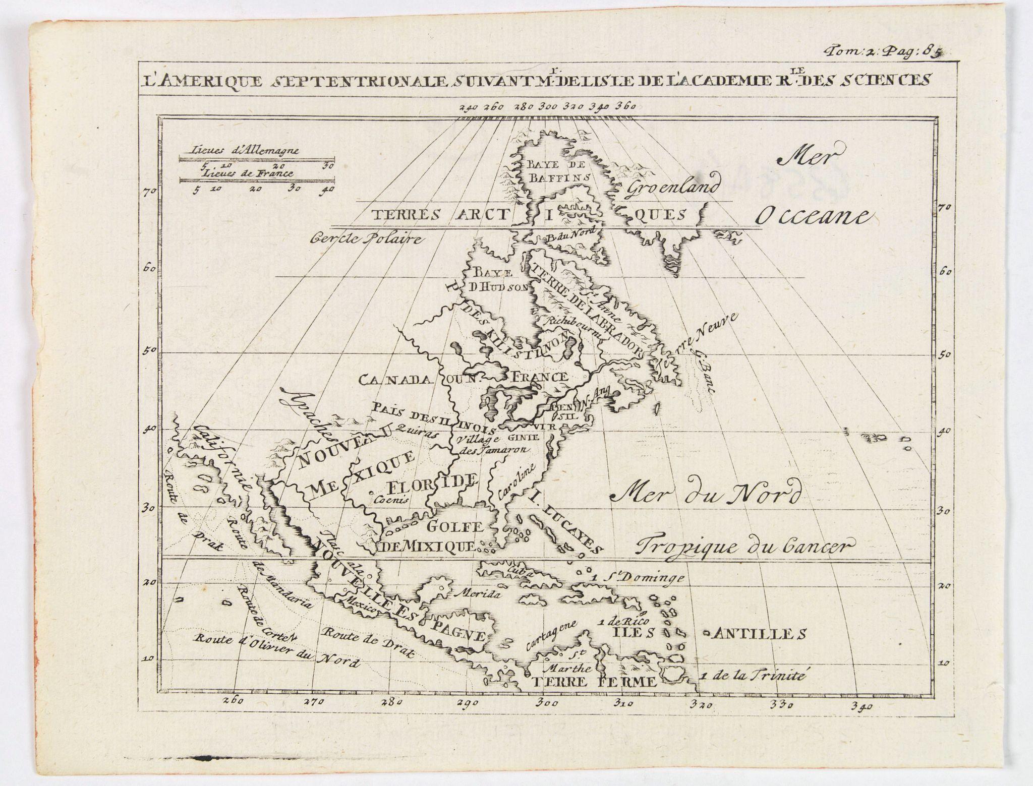 FRERES CHATELAIN. - L'Amerique Septentrionale suivant M. de Lisle de l'Academie Royaume des Sciences.