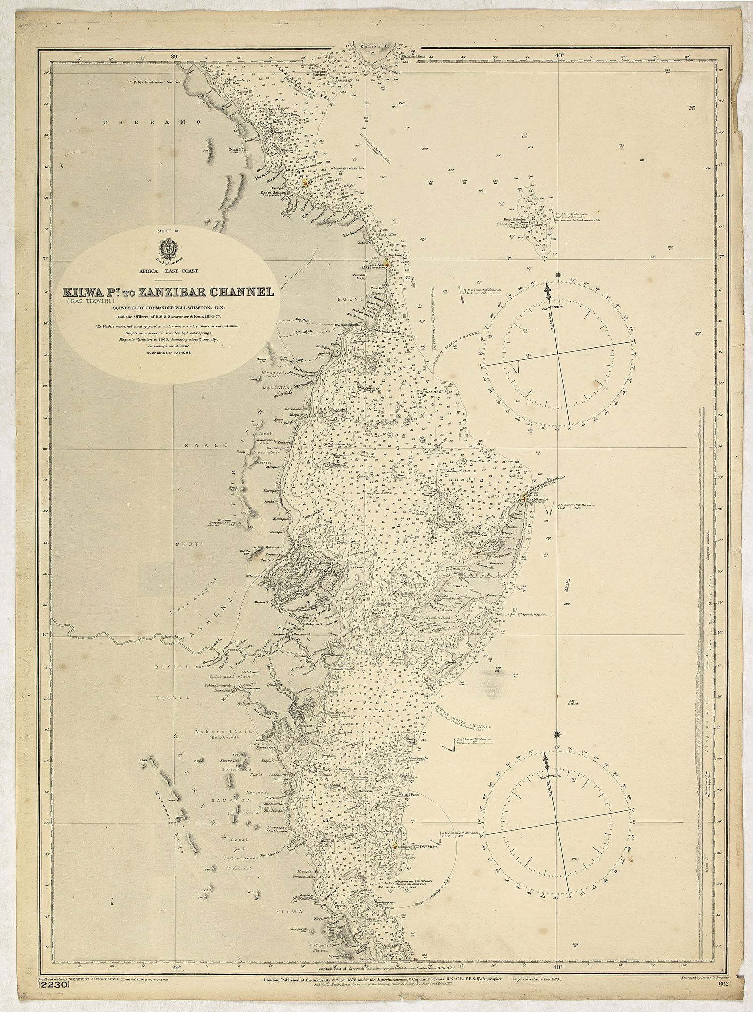 BRITISH ADMIRALTY CHART. -  Sheet IX Africa east coast Kilwa P.t to Zanzibar Channel Surveyed by Commander W. J. L. Wharton… , F. J. Gray, R. N., … 1874-77…  Magnetic variation in 1900, decreasing about 2' annually.
