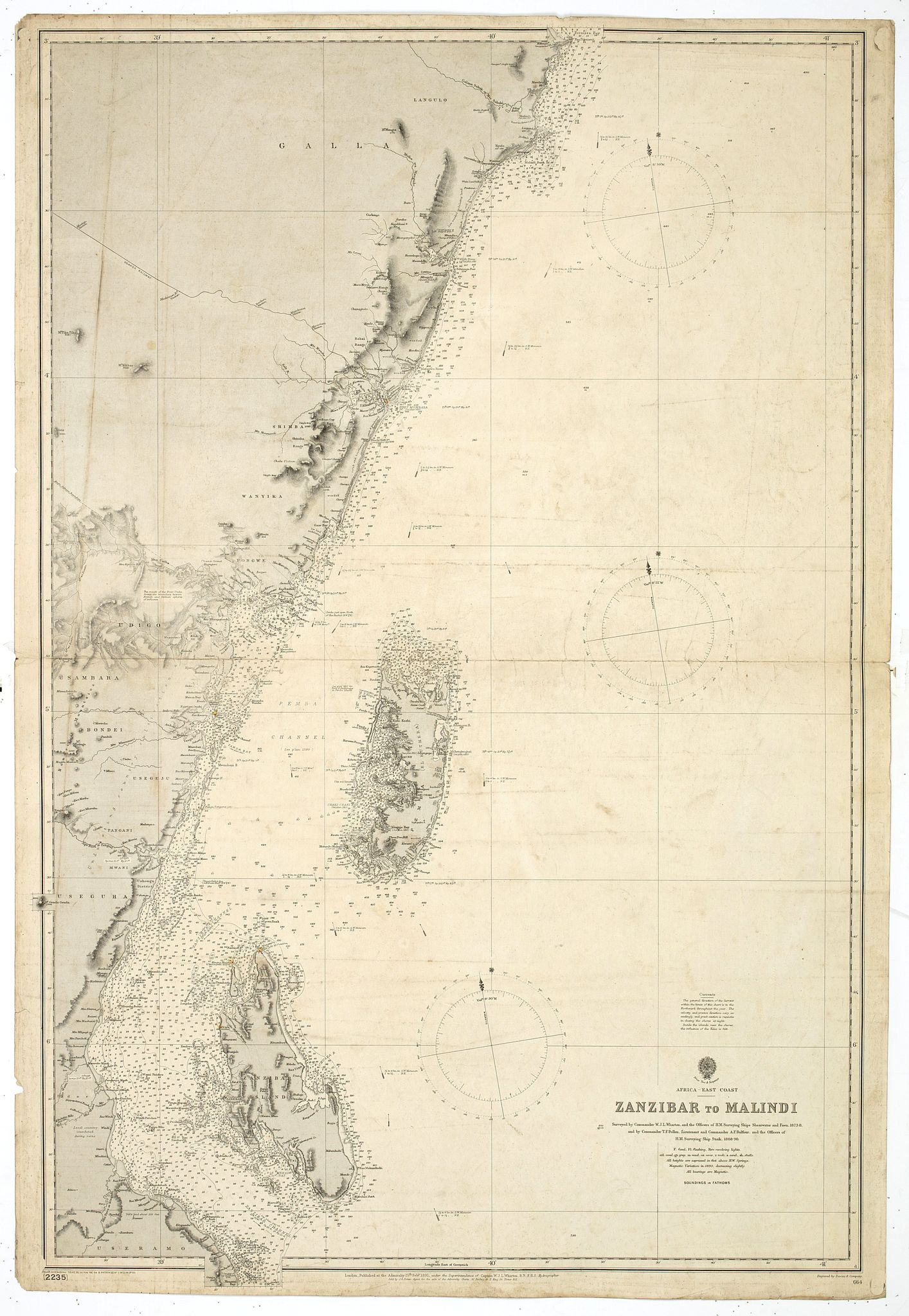 BRITISH ADMIRALTY CHART. -  Africa east coast Zanzibar to Malindi … H. M. Surveying ship Stork, 1888-90.  Magnetic variation in 1890, decreasing slightly. Africa - SW coast Table Bay surveyed by Mr F Skead Master RN assisted by Mr Charles Watermeyer 1858-60