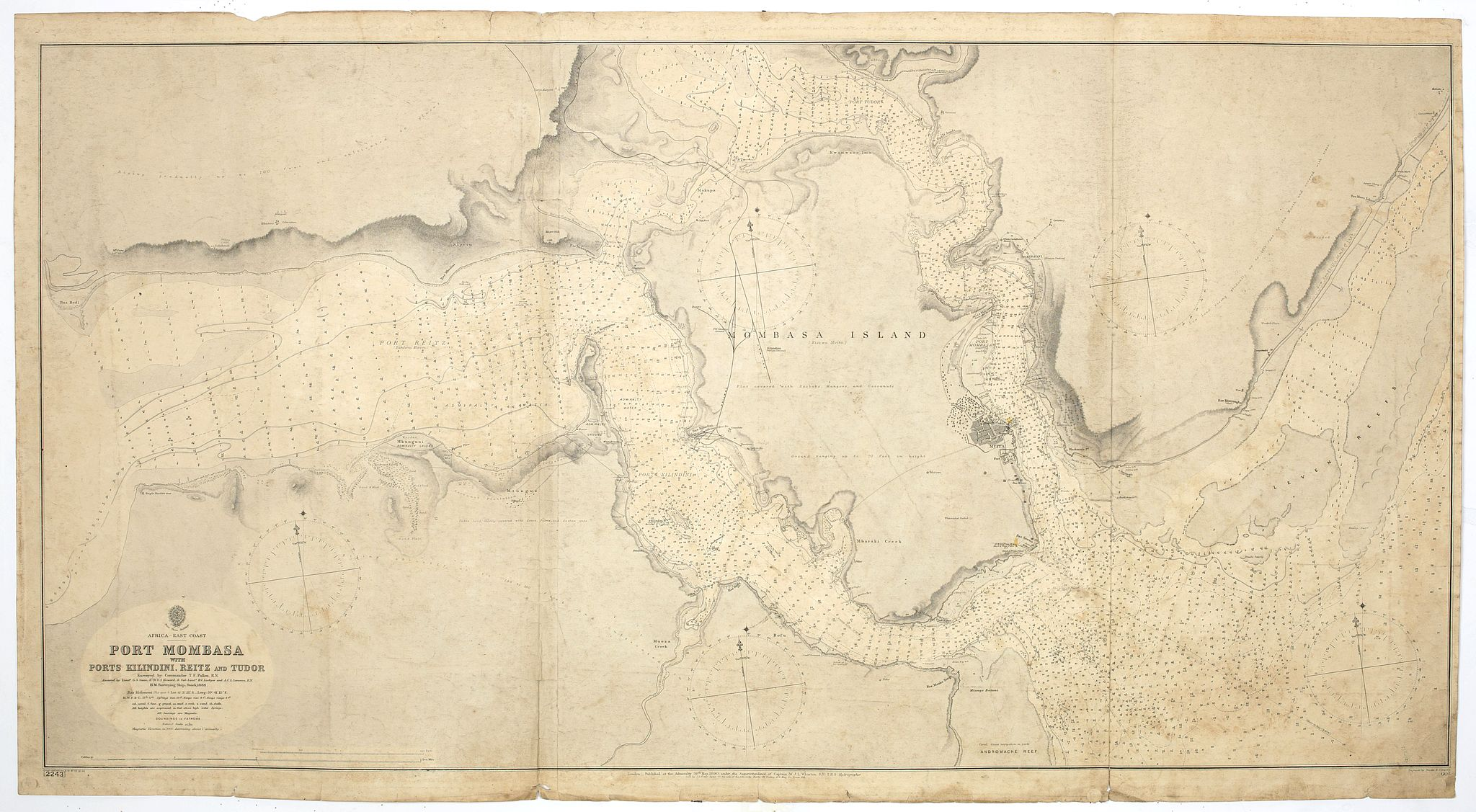 BRITISH ADMIRALTY CHART. -  Africa east coast, Port Mombasa with Ports Kilindini, Reitz and Tudor… H. M. Surveying ship Stork, 1888. Africa - SW coast Table Bay surveyed by Mr F Skead Master RN assisted by Mr Charles Watermeyer 1858-60