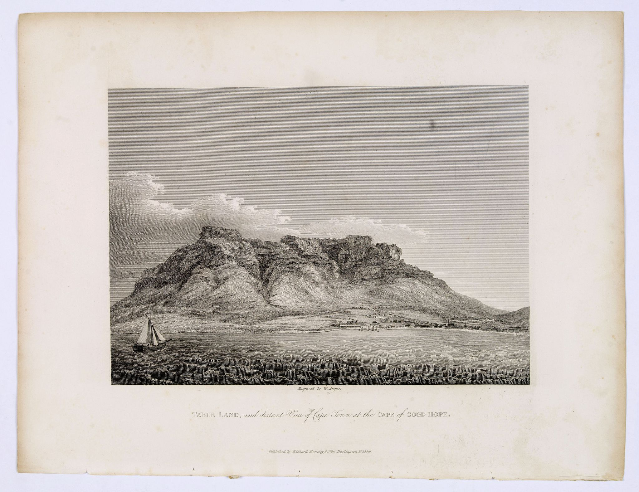 BENTLEY, Richard. - TABLE LAND, and distant View of Cape Town at the CAPE of GOOD HOPE.