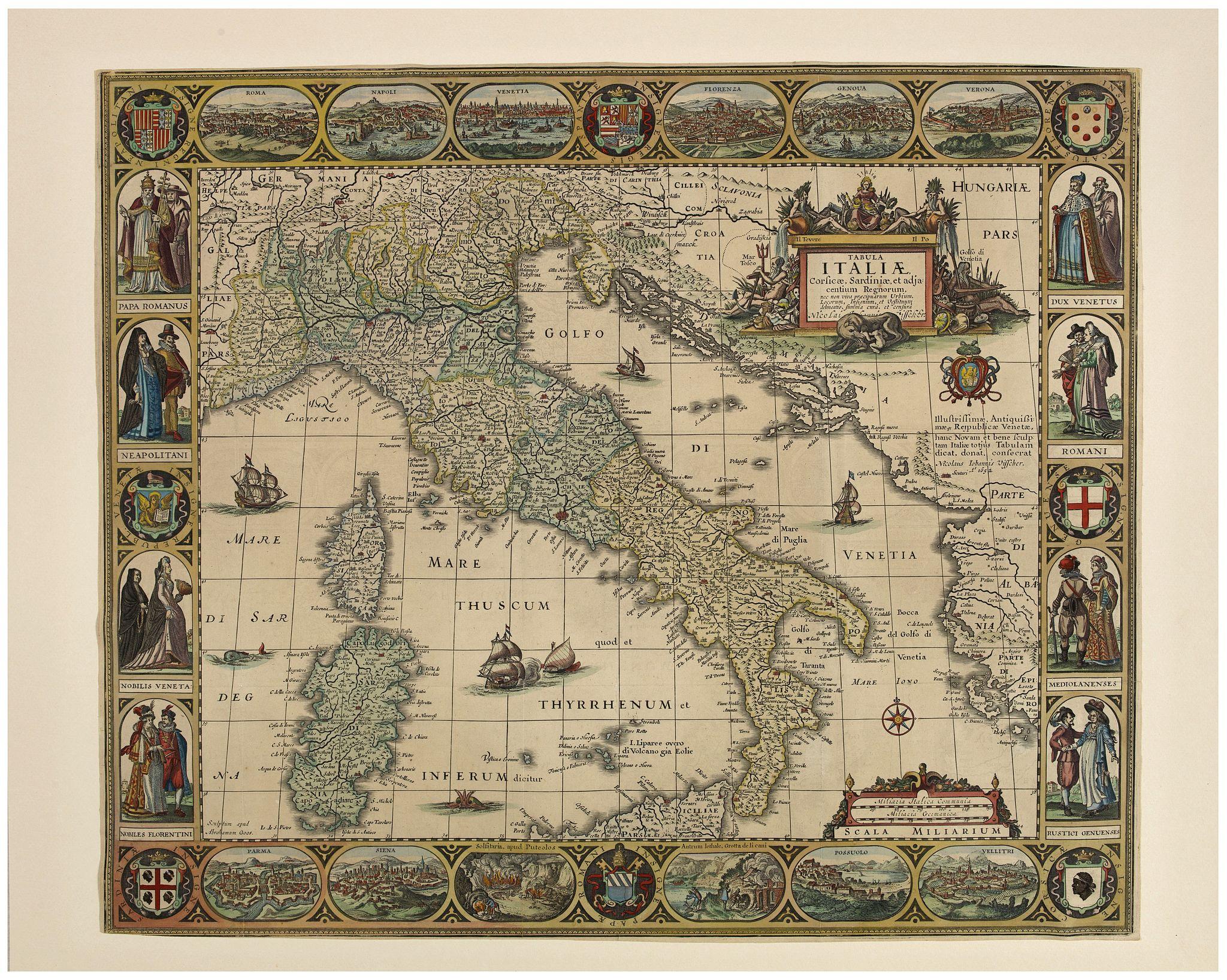 VISSCHER, Claes Jansz. -  Tabula Italiae, Corsicae, Sardiniae et adjacentium Regnorum. A°1652.
