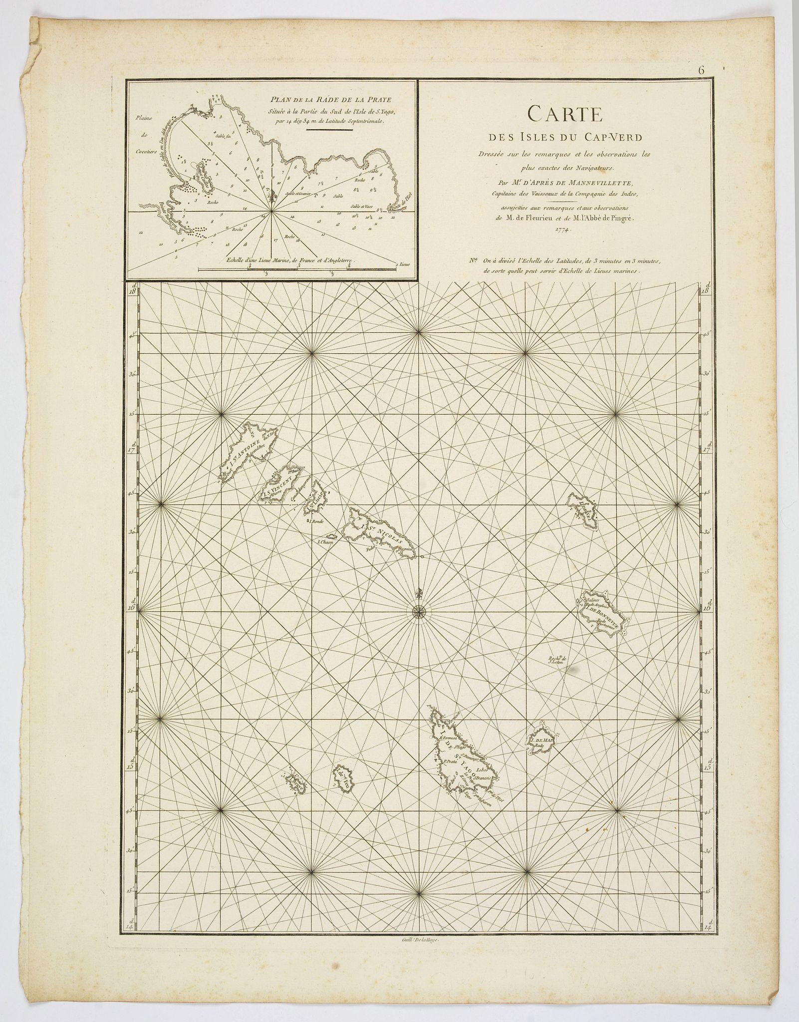 MANVILLETTE, Jean Baptiste de. - Carte des Isles du Cap-Verd. . .