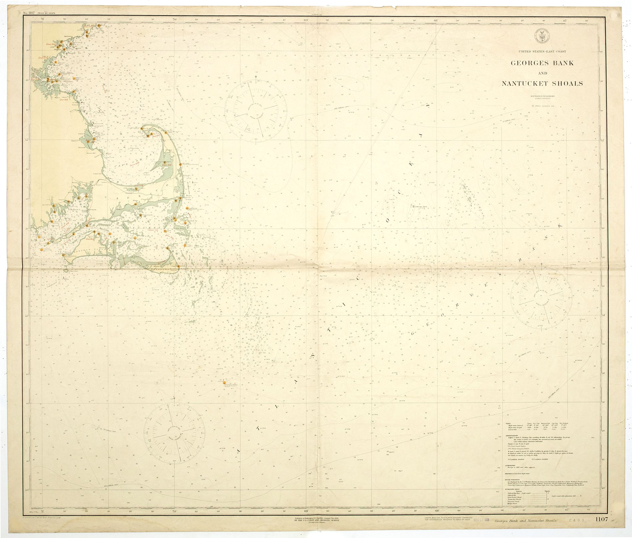 U. S. COAST AND GEODETIC SURVEY.,  Georges Bank and Nantucket shoals., antique map, old maps