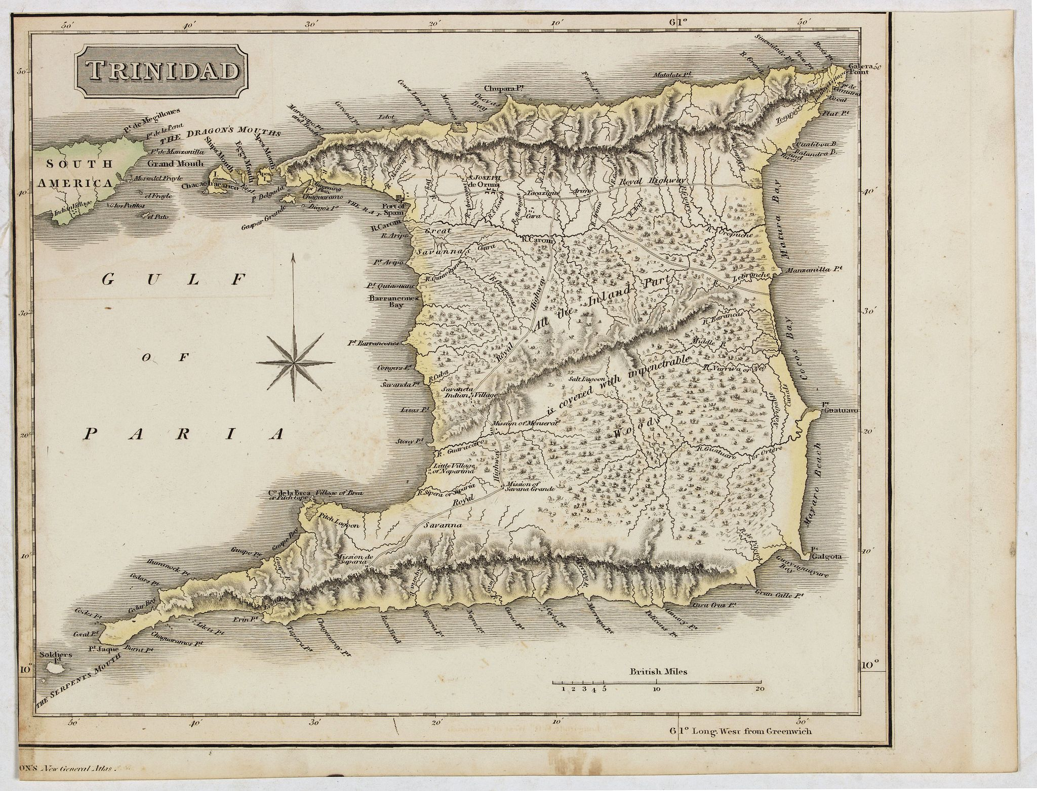 THOMSON, J.,  Trinidad, antique map, old maps