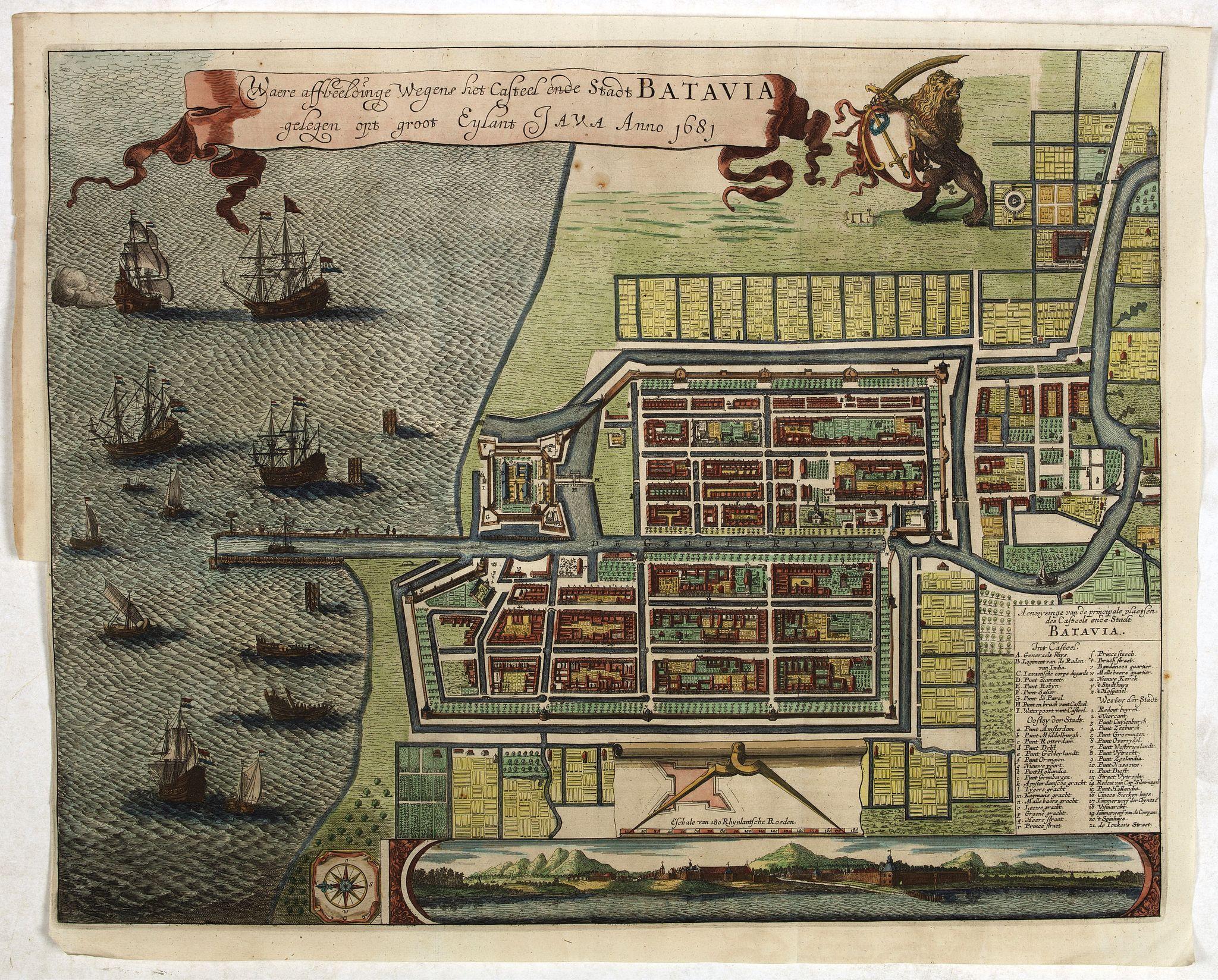LETI, G. -  Waere affbeeldinge wegens het casteel ende stadt Batavia.