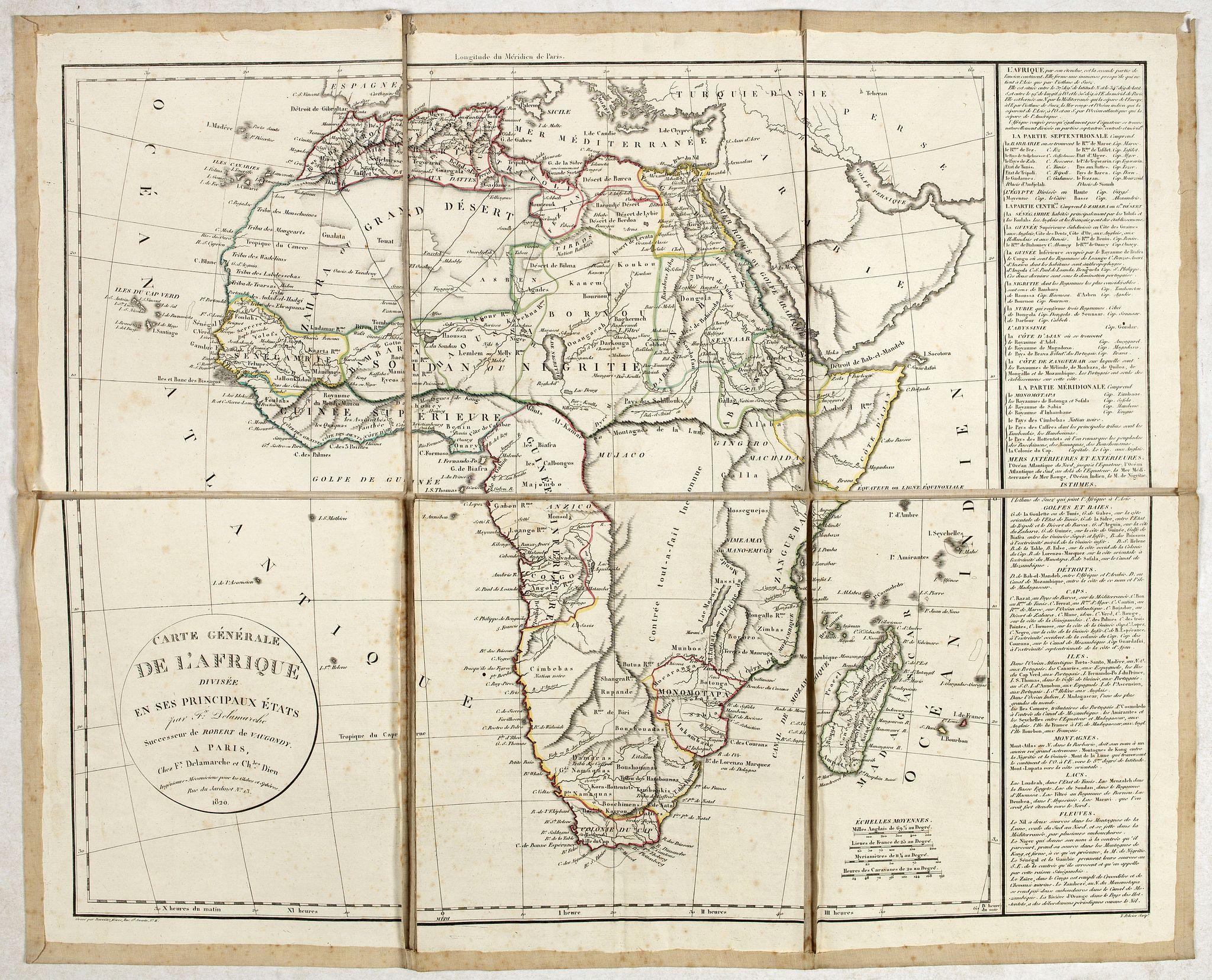 DELAMARCHE, F. -  Carte générale de L'Afrique divisée en ses principaux états par Fx Delamarche. . .
