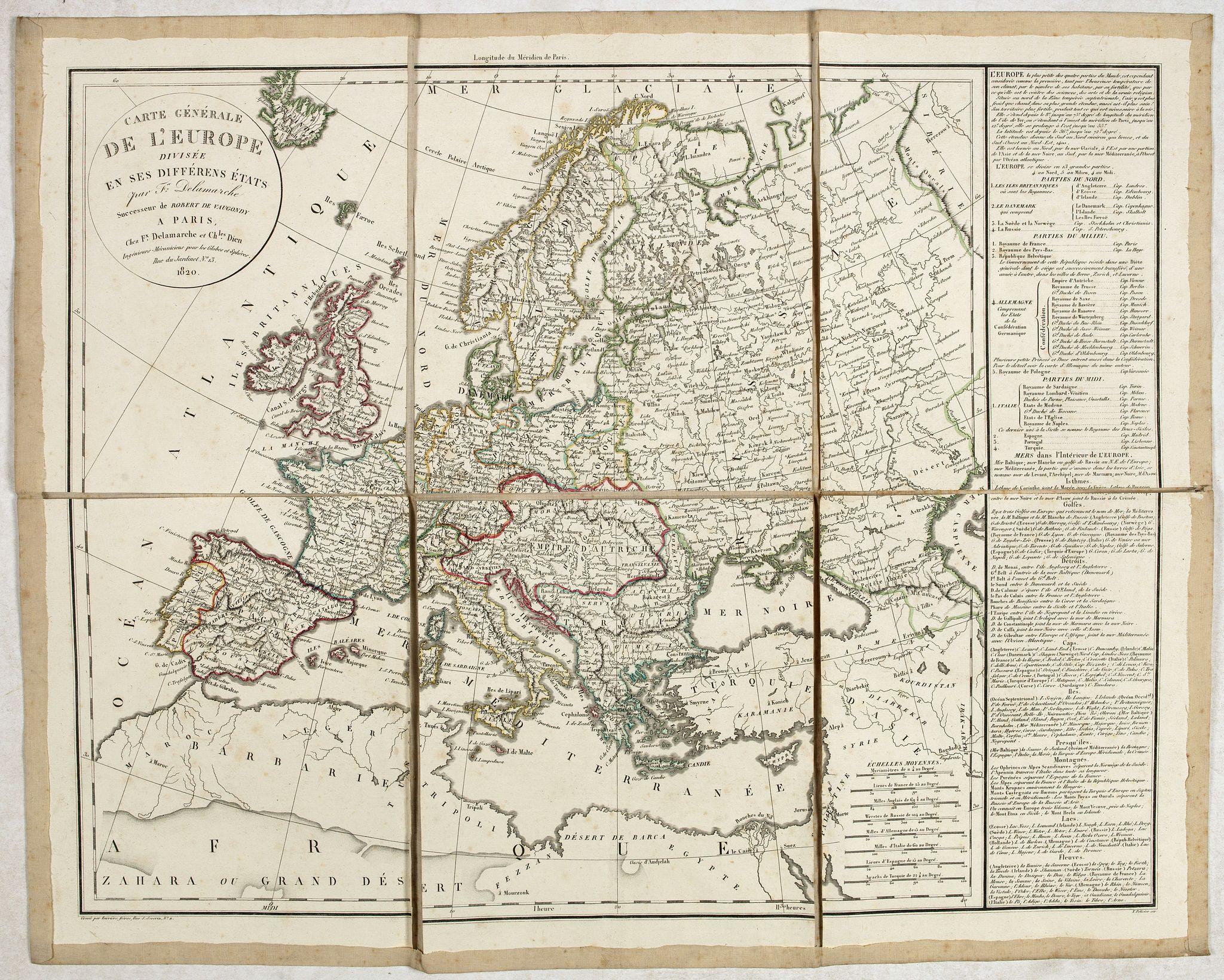 DELAMARCHE, F. -  Carte générale de L'Europe. . .
