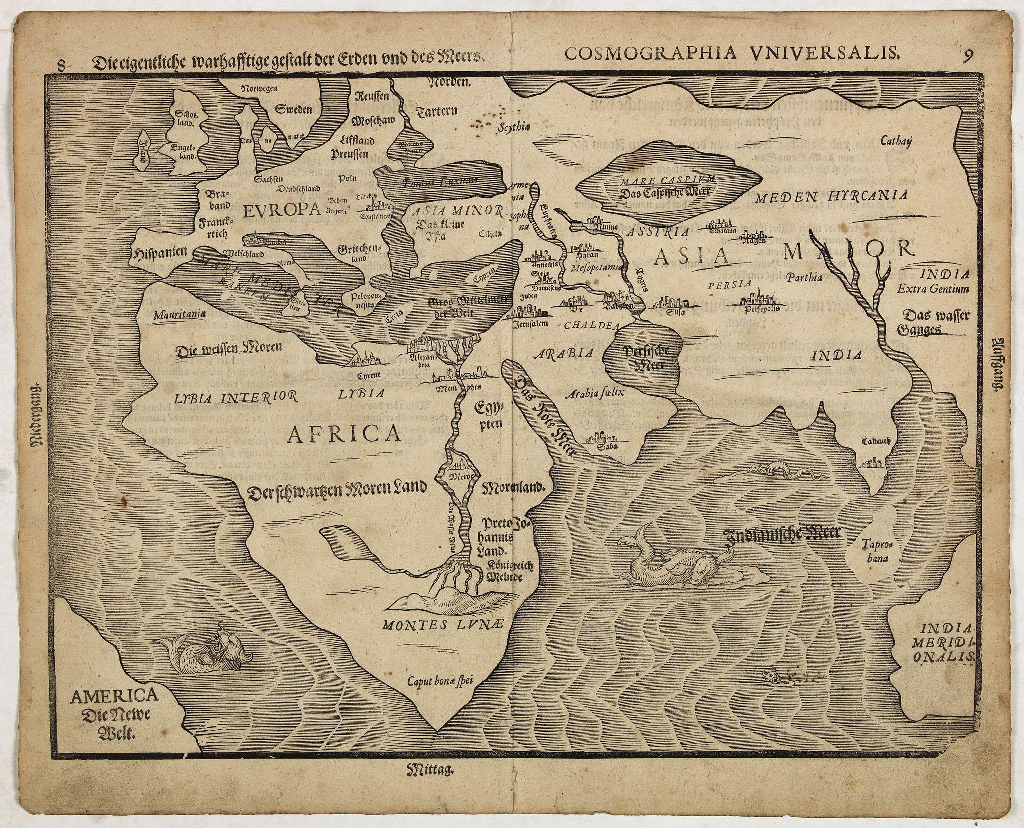 BÜlNTING, H. -  Die eigentliche warhafftige der Erden und des Meers. -  Cosmographia Universalis. . .