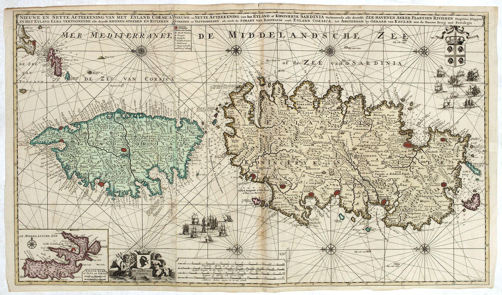 VAN KEULEN, G. -  Nieuwe en Nette Afteekening van het Eyland Corsica en het Eyland Elba vertoonende alle desselfs Havenen, Steeden en Rivieren . . .