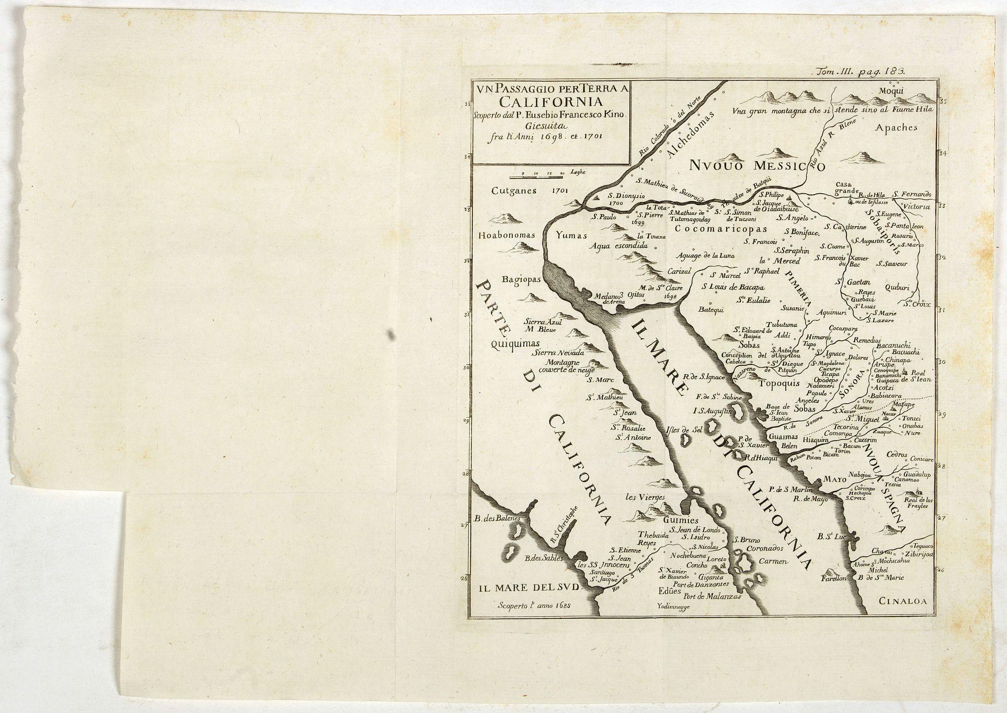 KINO, E.F. -  Un Passaggio per Terra a California Scoperto dal P. Eusebio Francesco Kino Gesuita Fragli Anni 1698 et 1701.