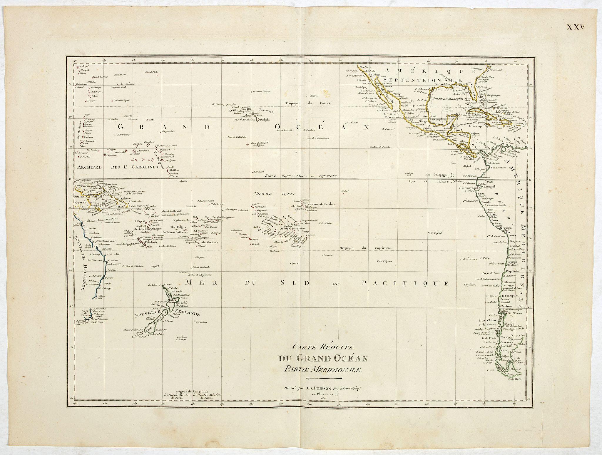 POIRSON, J.B. -  Carte reduite du Grand Océan partie Mériodionale. (Page XXV)