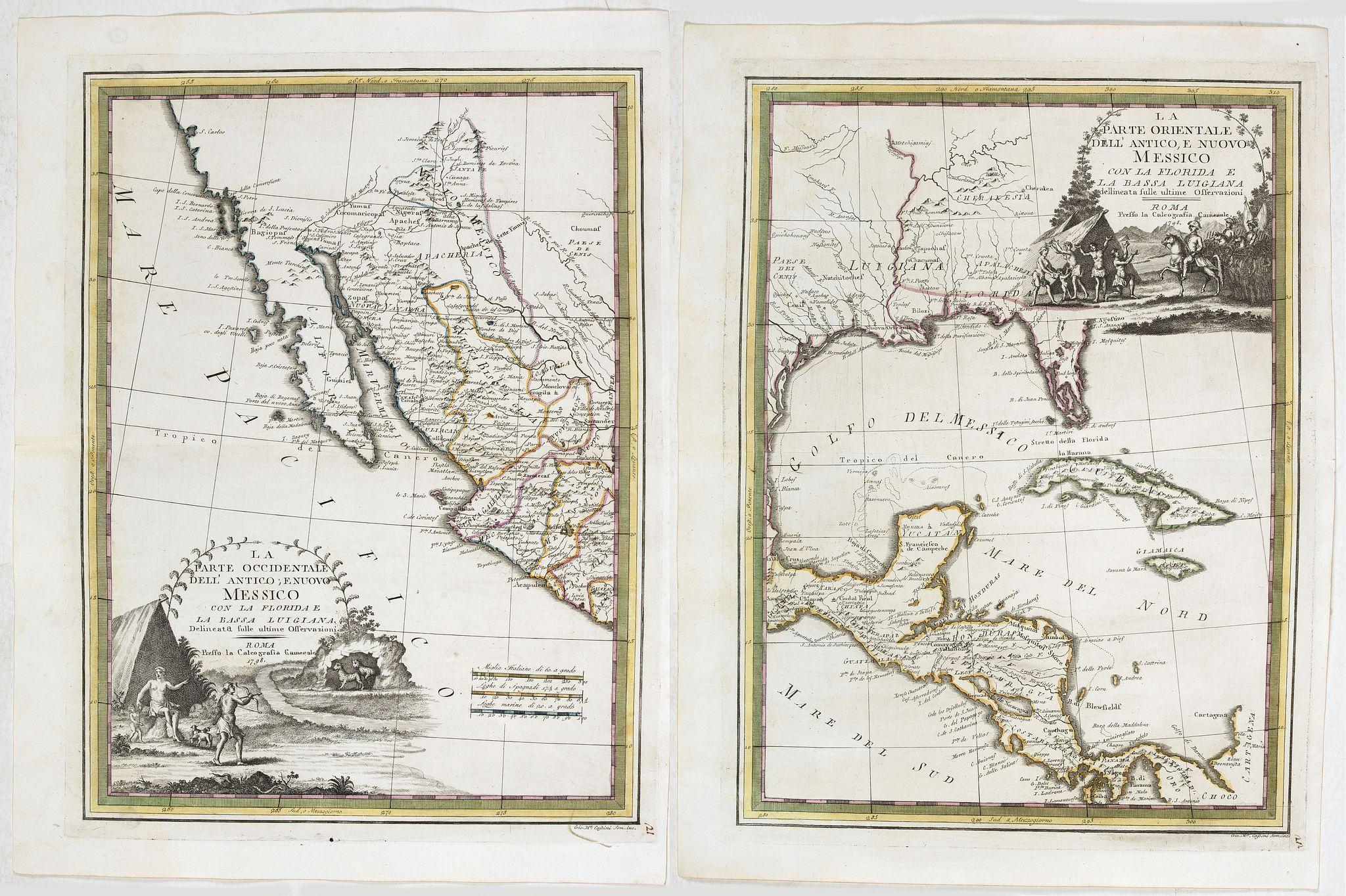CASSINI, G. -  La parte orientale dell' antico.. messico con la Florida..