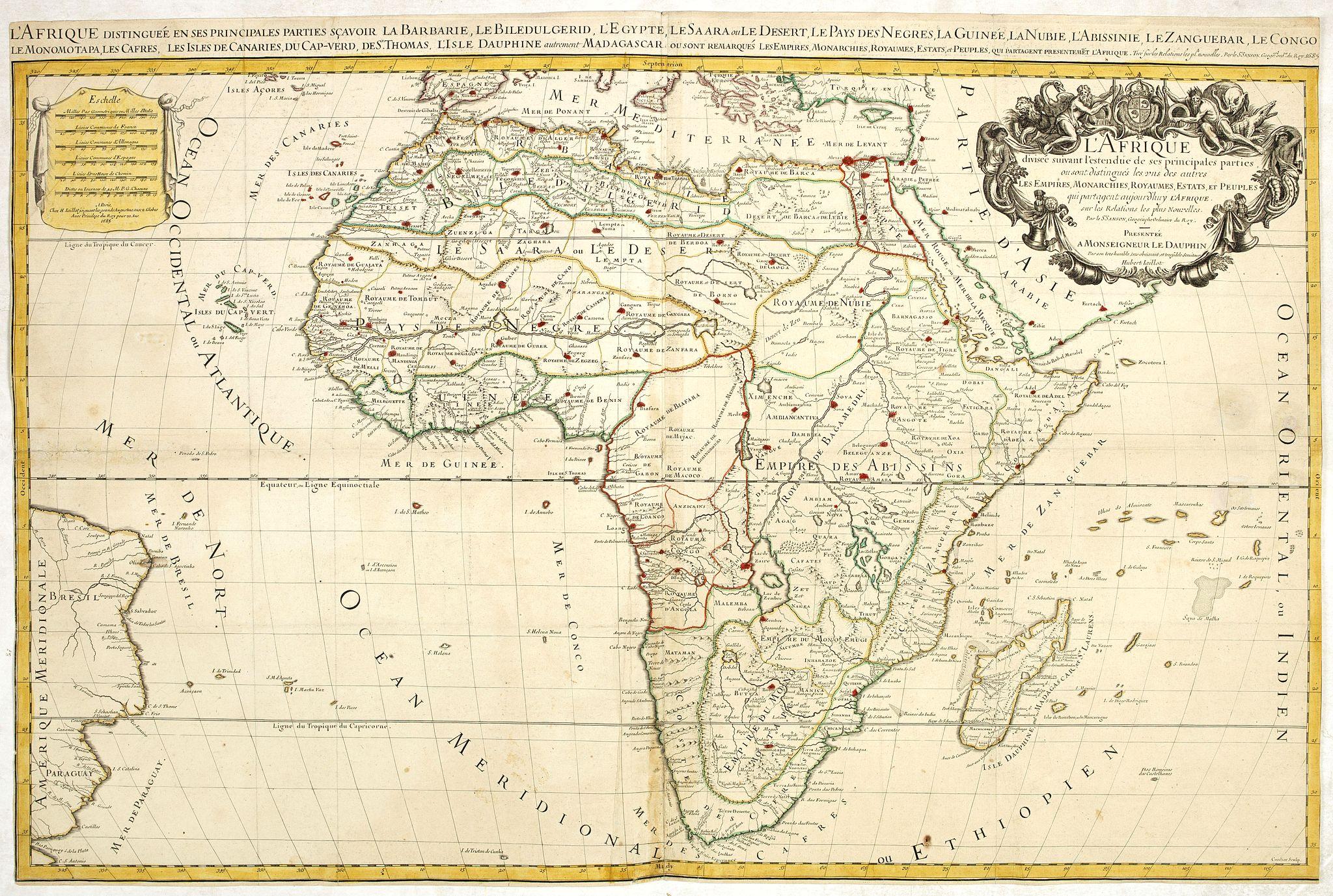 JAILLOT, H. -  L'Afrique divisée suivant l'estendue de ses principales parties ou sont distingués les vns des autres . . .