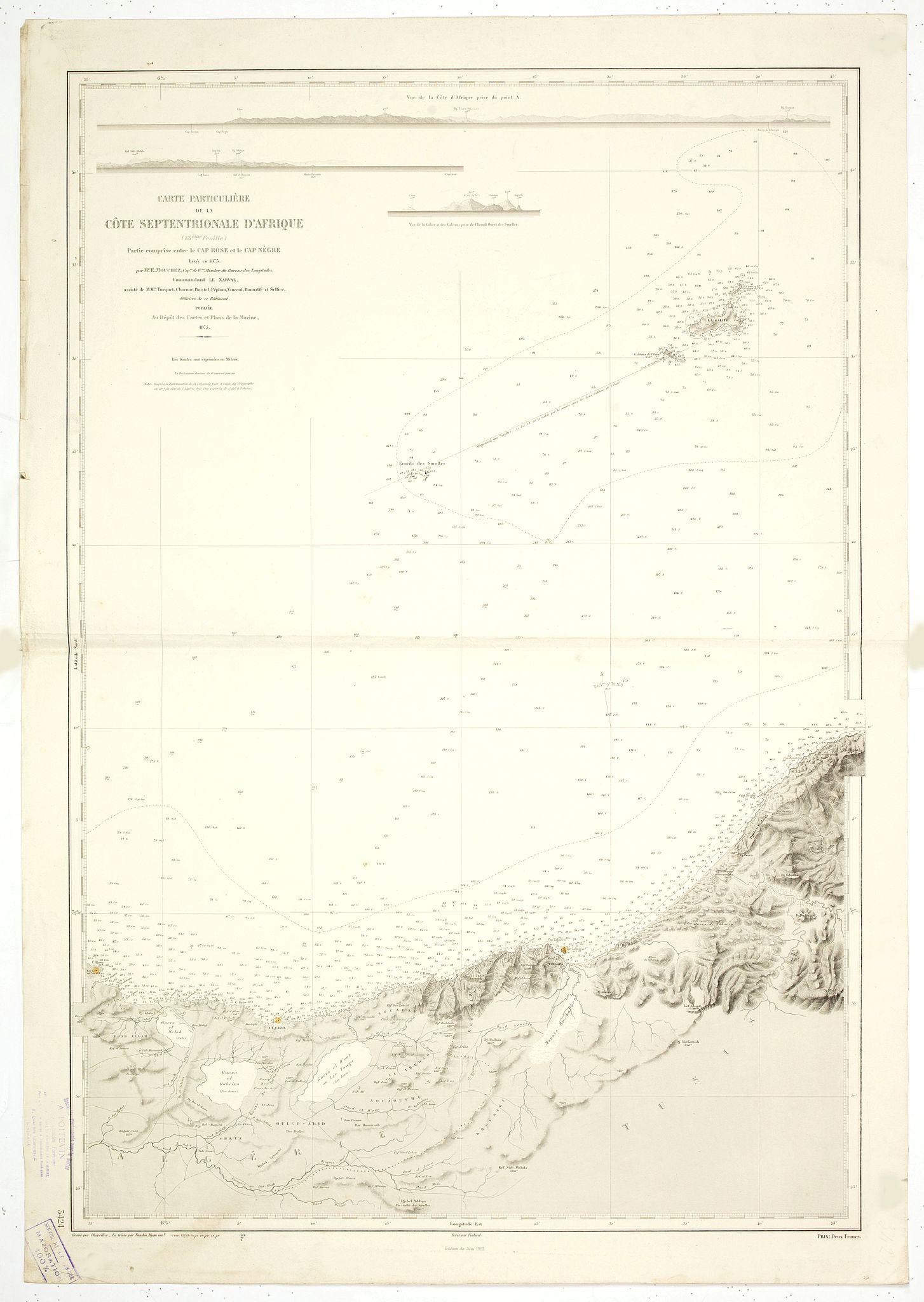 SERVICE HYDROGRAPHIQUE DE LA MARINE. -  Carte particuliere de la cote septentrionale d'Afrique. (13eme feuille)