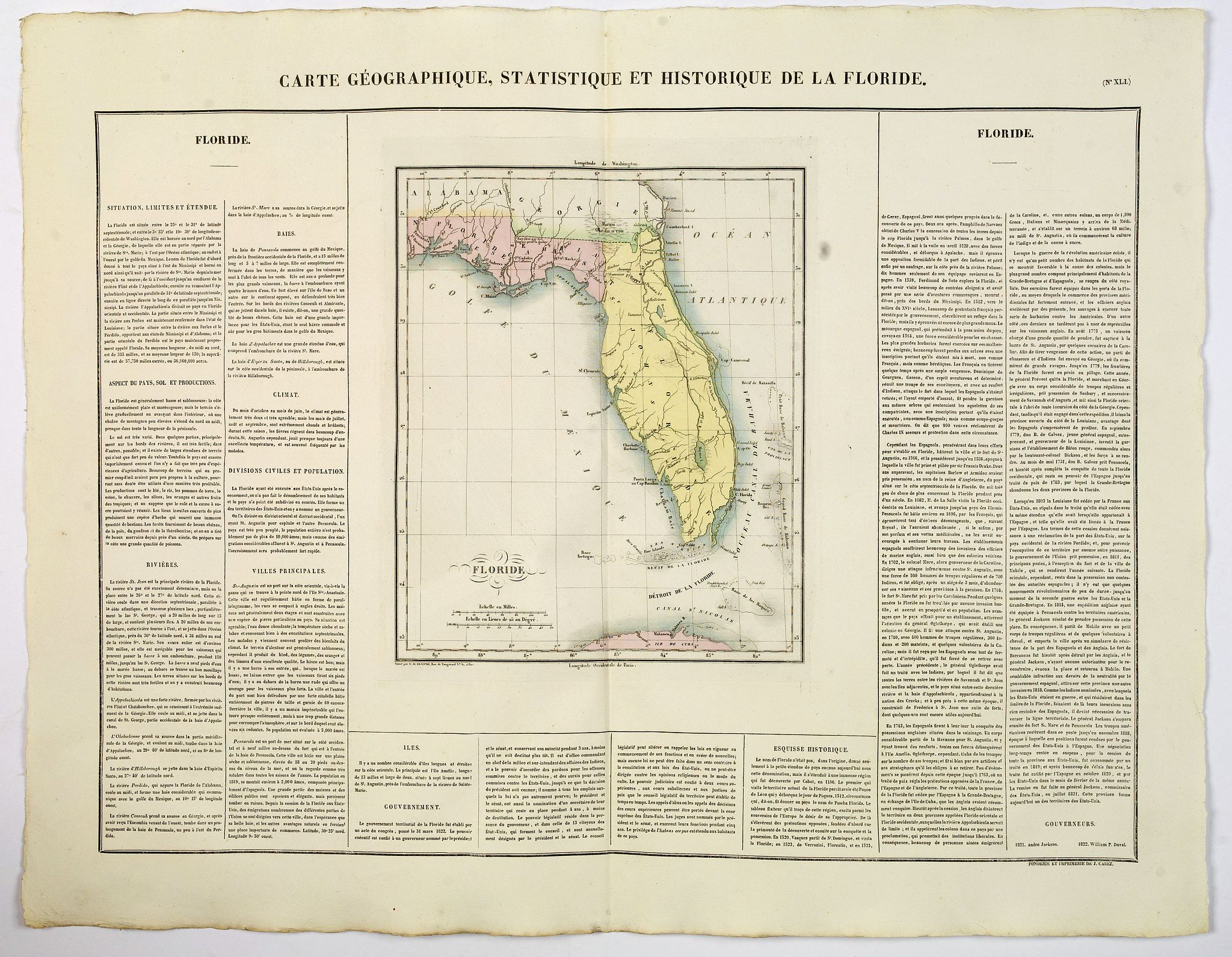 BUCHON, J.A. -  Carte Geographique, Statistique ey Historique de la Floride.