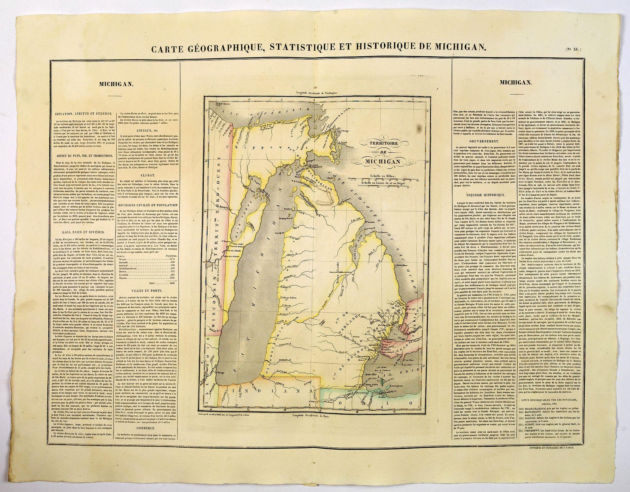 BUCHON, J.A. -  Carte Geographique, Statistique et Historique de Michigan.