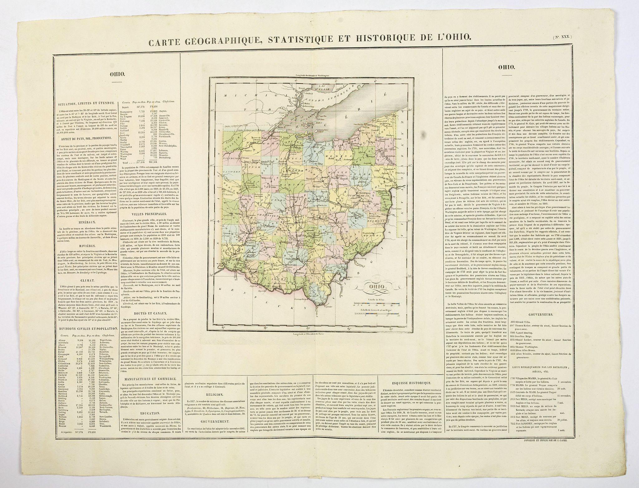 BUCHON, J.A. -  Carte Geographique, Statistique et Historique de L'Ohio.