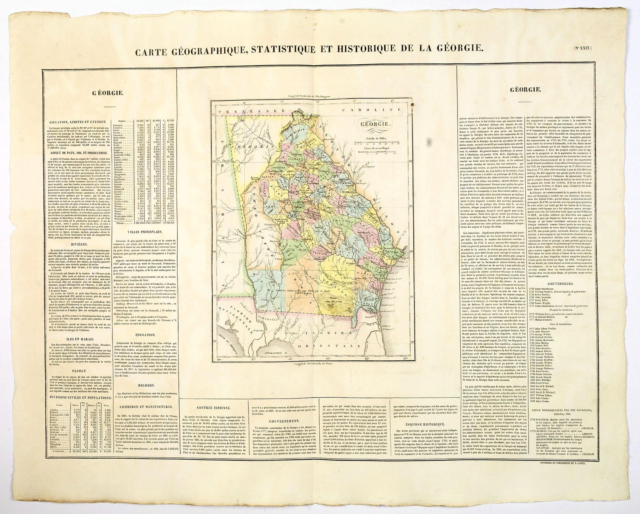 BUCHON, J.A. -  Carte Geographique, Statistique et Historique de la Georgie.