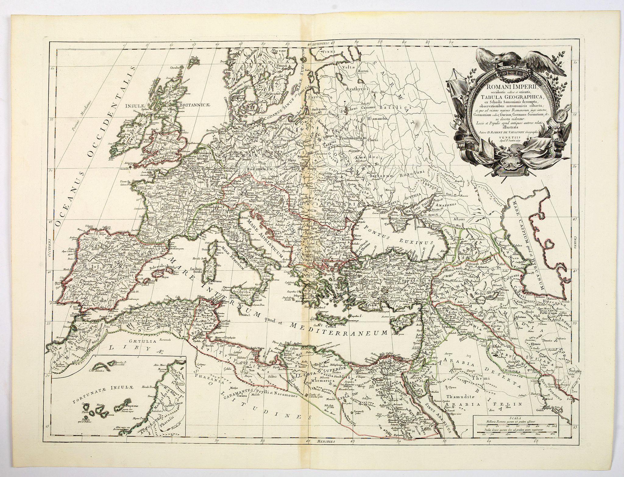 SANTINI, P. / REMONDINI, M. -  Romani Imperii occidentis . . . Tabula Geographica. . .