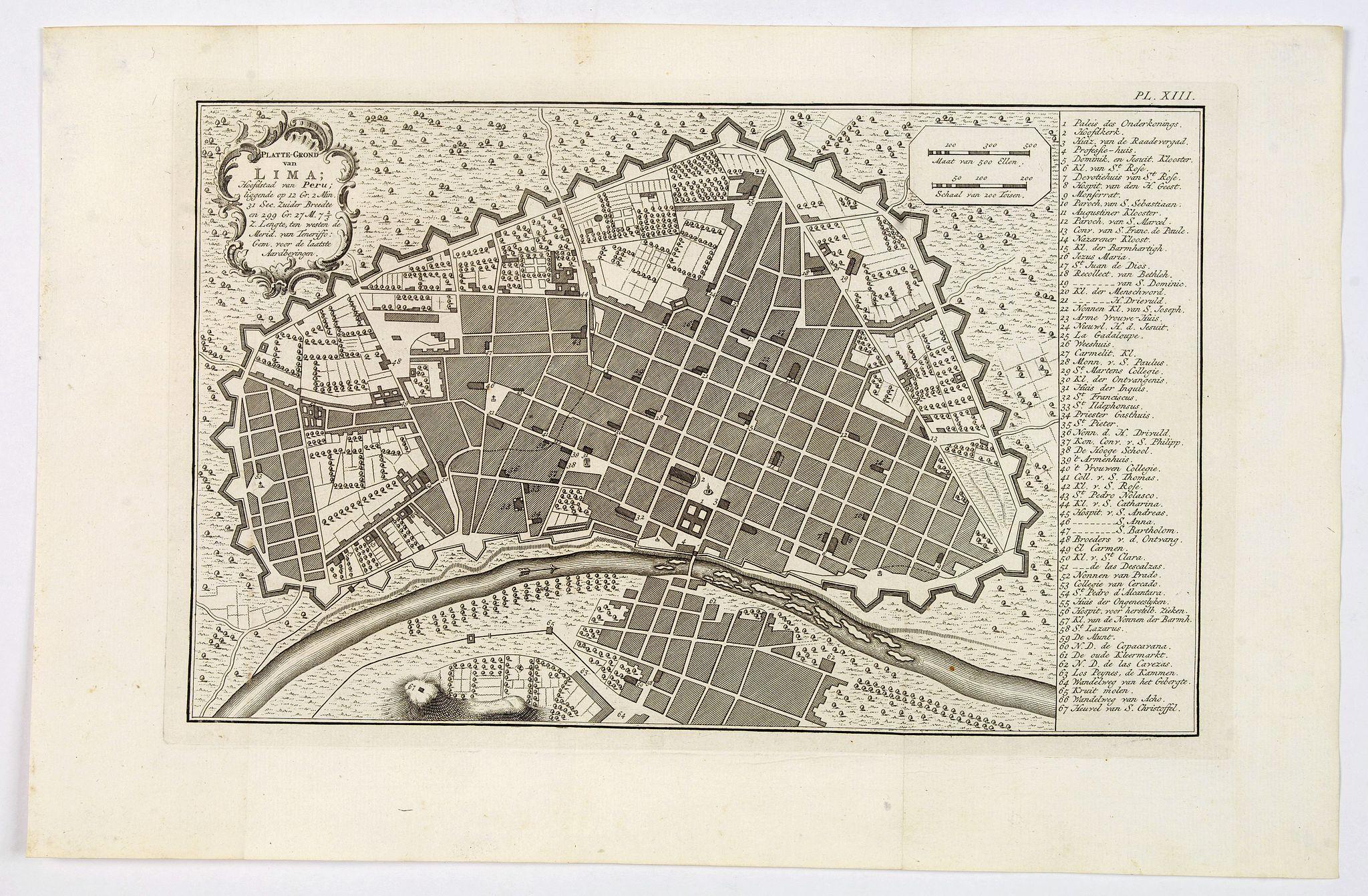 ULLOA, Antionio de. -  Platte-Grond van Lima Hoofdstadt van Peru. . .