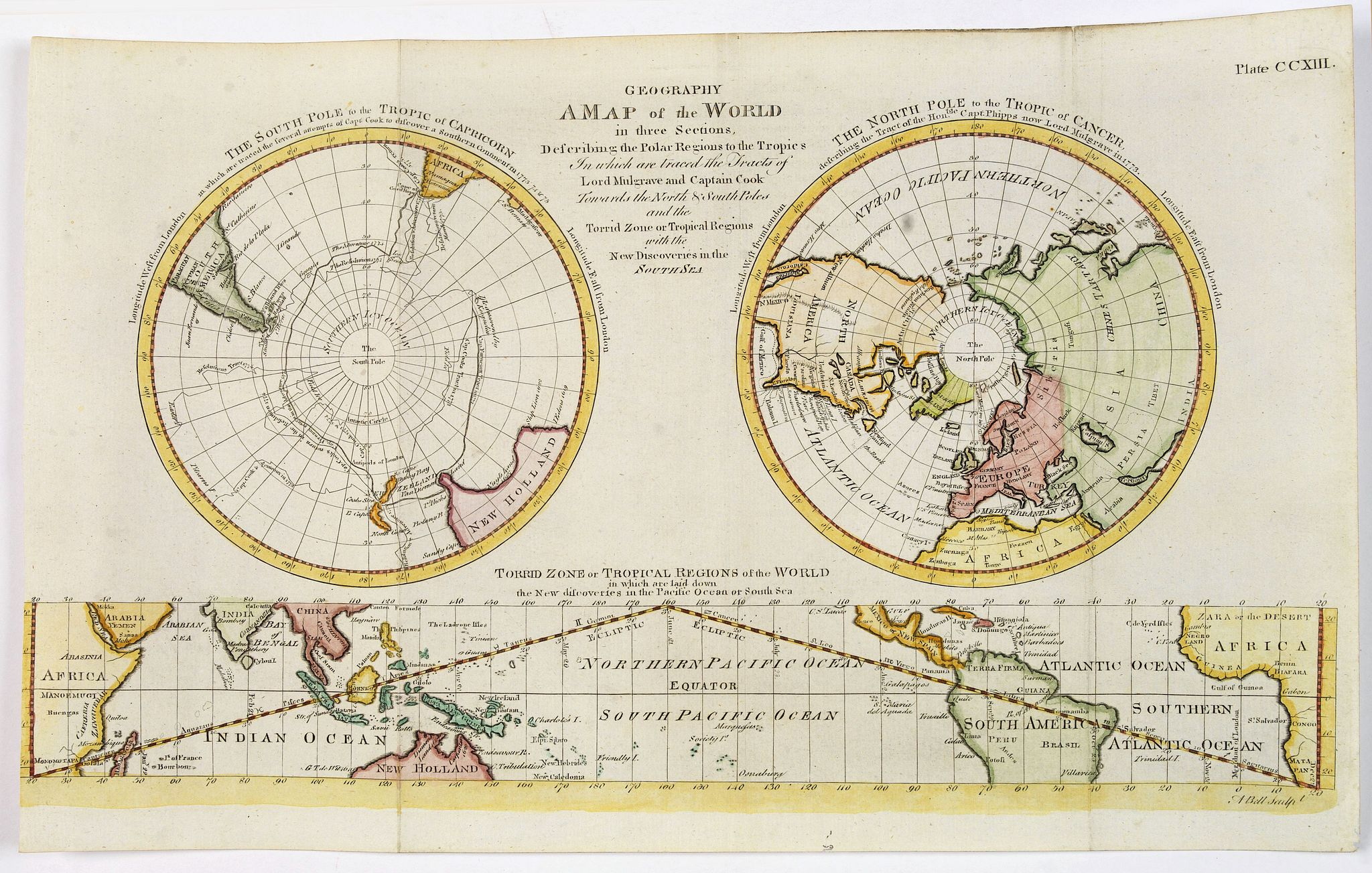 BARKER, William. -  Geography A Map of the World in three Sections, Describing the Polar Regions to the Tropic's. . .