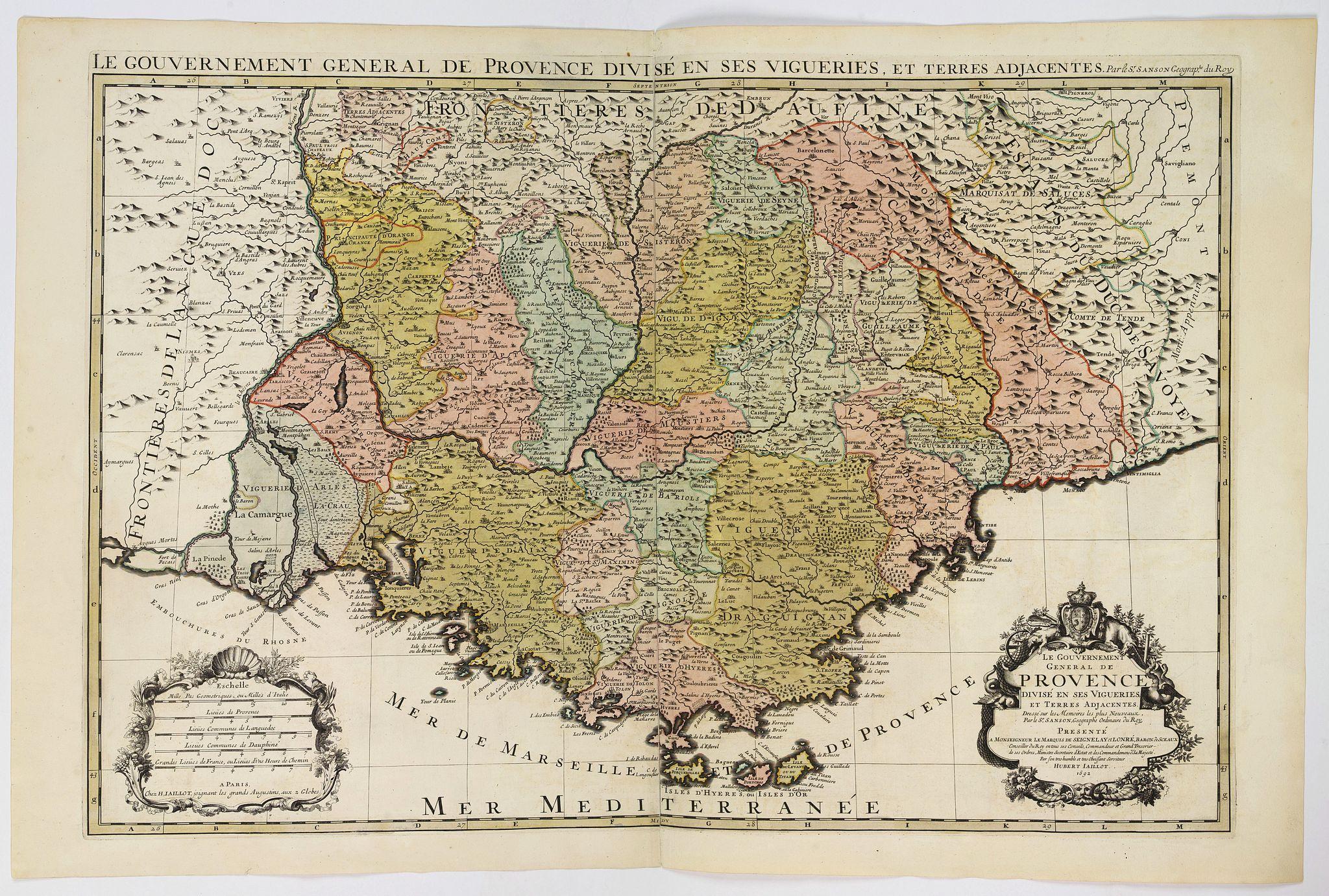 JAILLOT, H. / MORTIER, P. -  Le gouvernement général de Provence divise en ses vigueries. . .