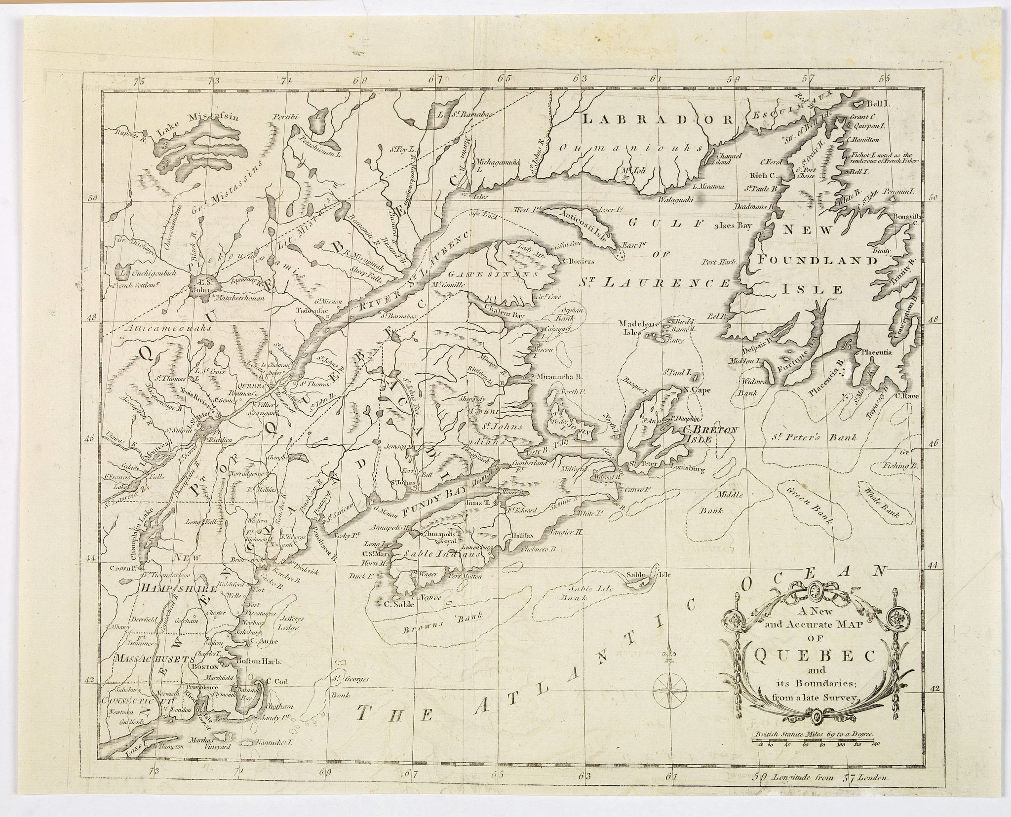 THE UNIVERSAL MAGAZINE. - A New and Accurate Mapp of Quebec and its Boundaries, from a late Survey.