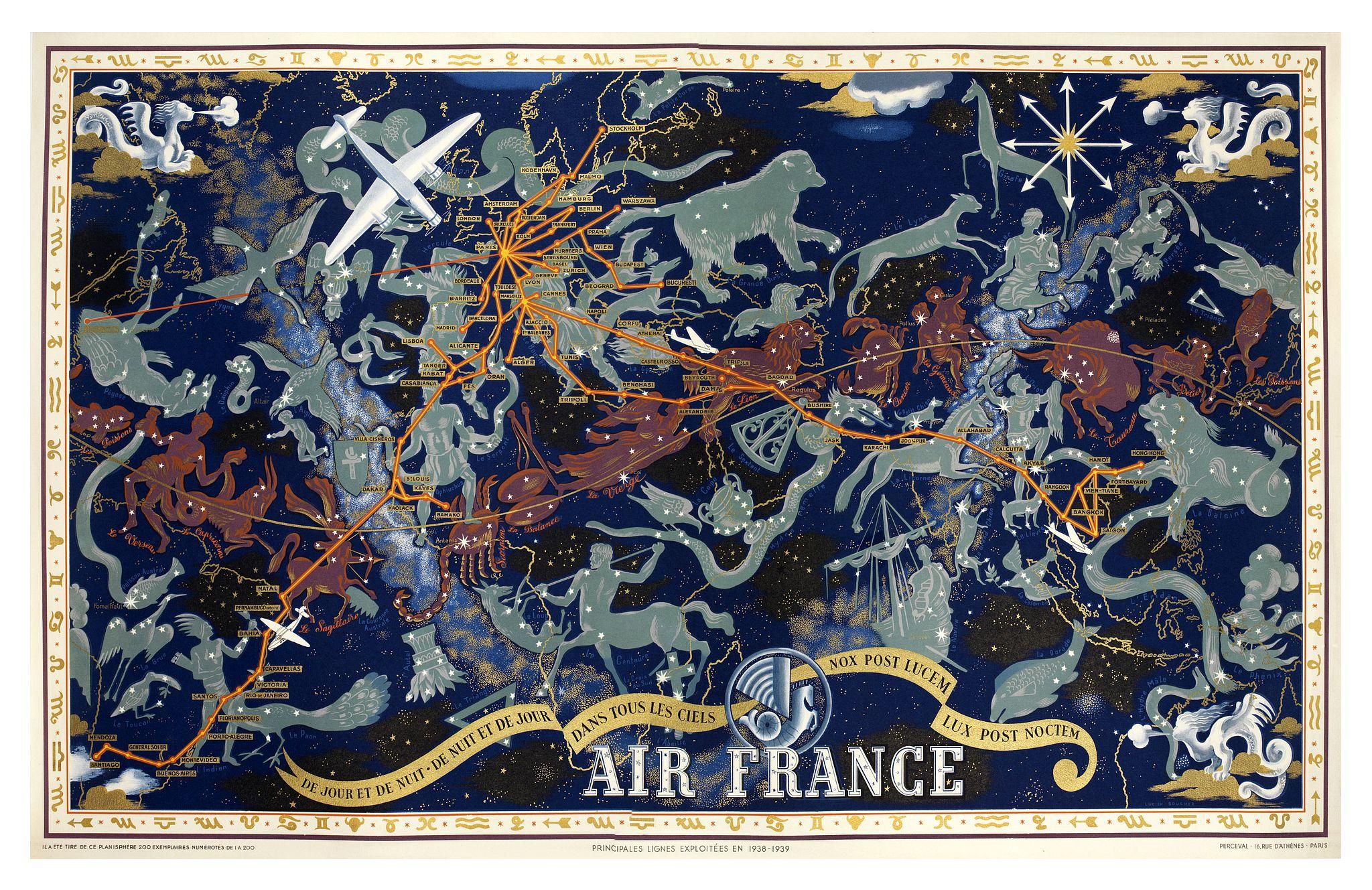 BOUCHER, L. -  Air France De jour et de nuit - De nuit et de jour, dans les ciels, nox post Lucem lux post noctem, principales lignes exploitées en 1938-1939. [Planisphère Zodiac Air France].