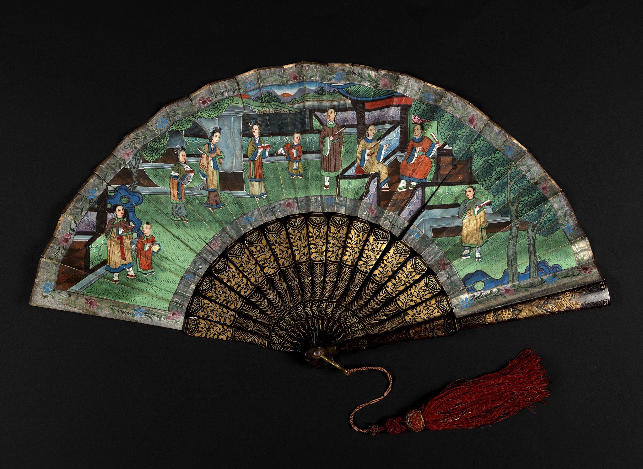 ANONYMOUS -  A Chinese Mandarin fan of a Palace garden scene.