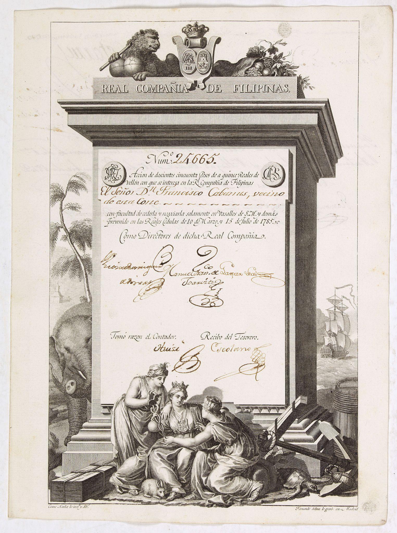 REAL COMPANIA DE FILIPINAS -  A scarce Real Compañia de Filipinas 250 Pesos deed issued in 1785.