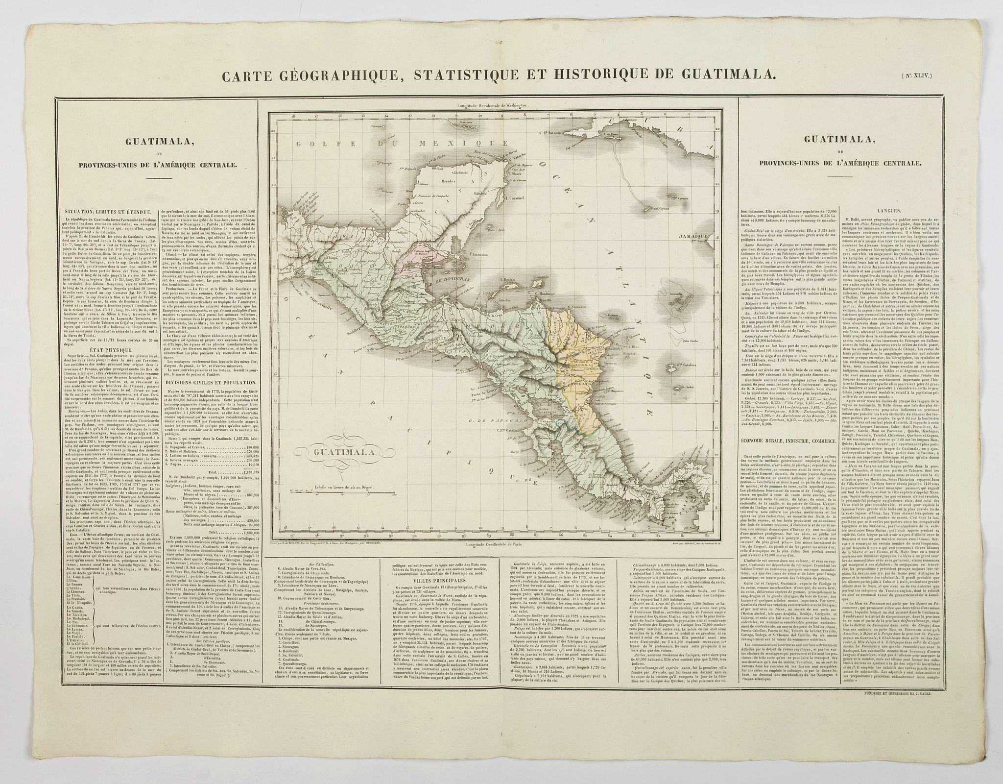 BUCHON, J.A. -  Carte Geographique, Statistique et Historique de Guatimala.