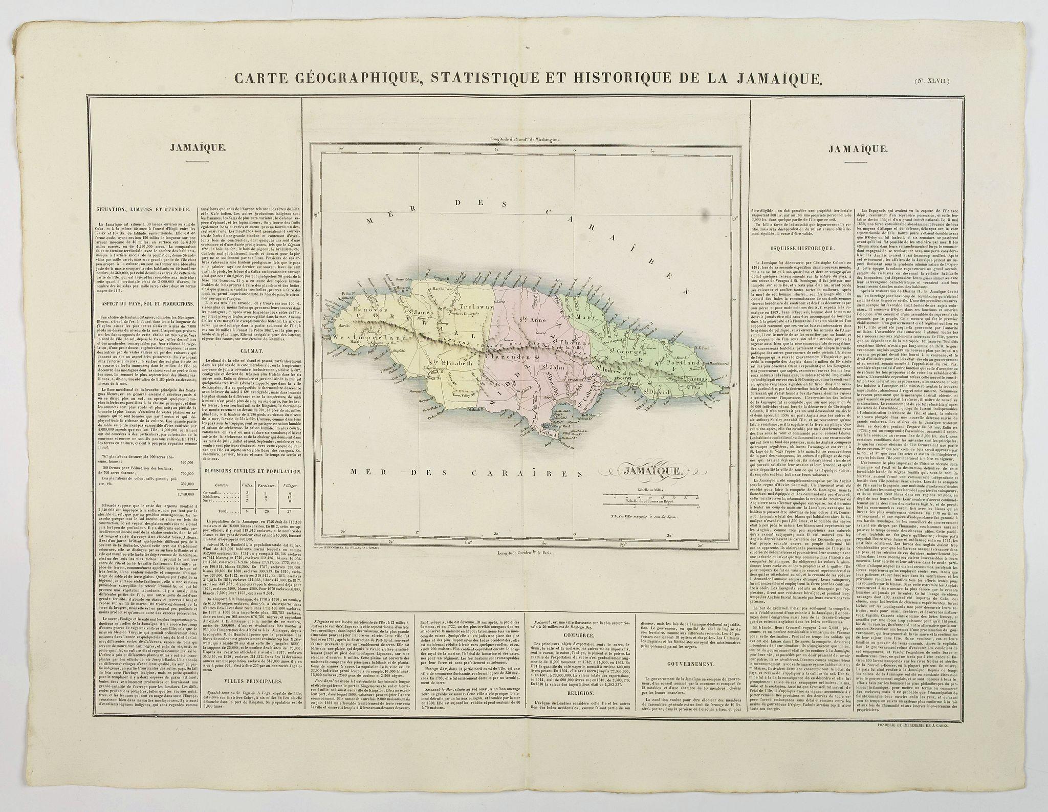 BUCHON, J.A. -  Carte Geographique, Statistique et Historique de la Jamaique.