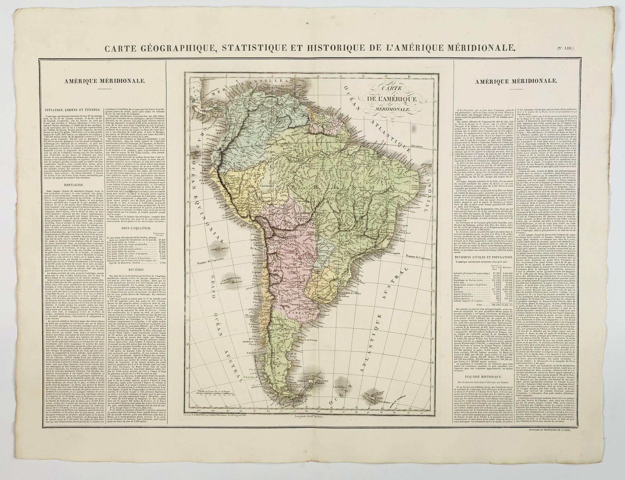 BUCHON, J.A. -  Carte Geographique, Statistique et Historique de l'Amerique Meridionale.