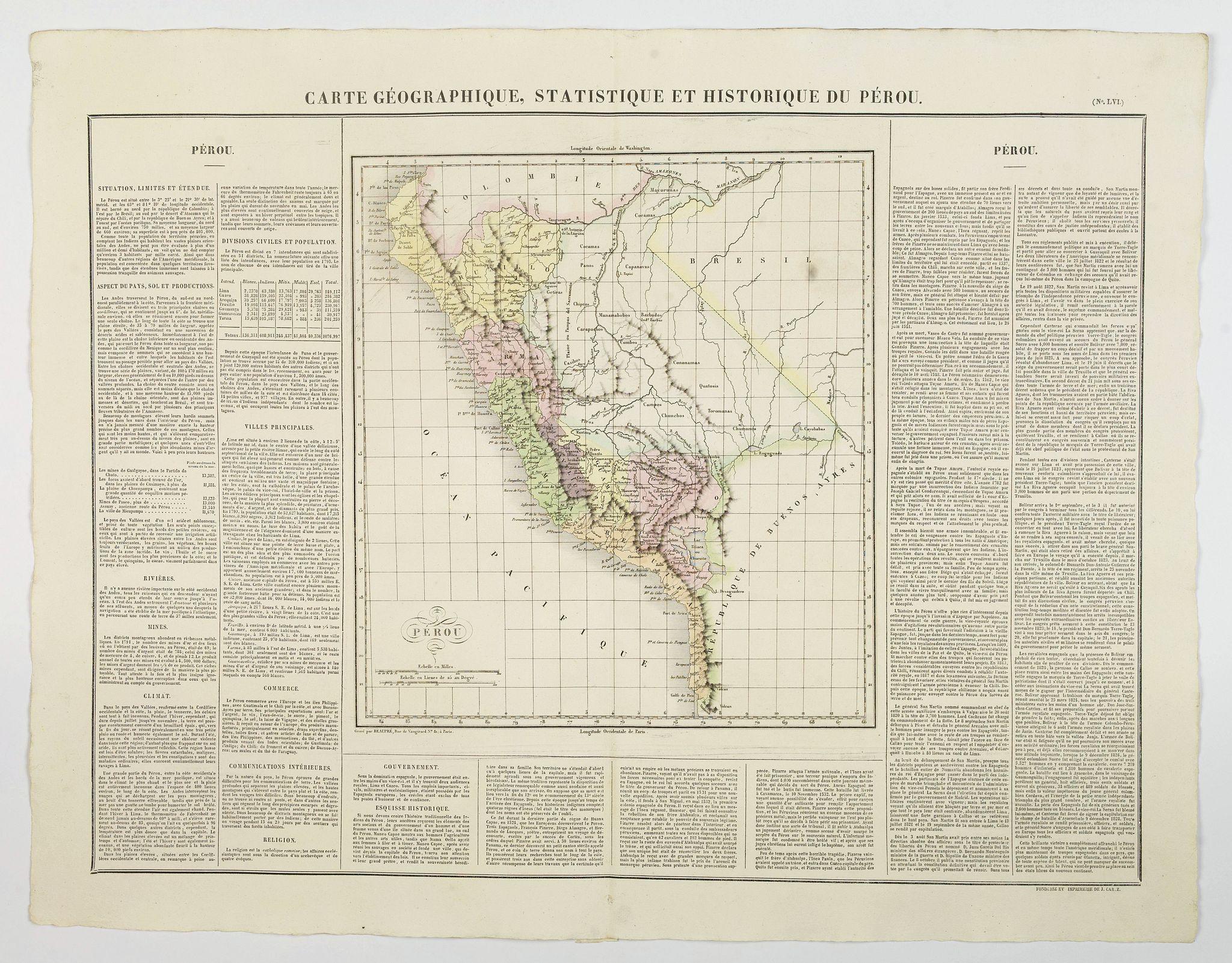 BUCHON, J.A. -  Carte Geographique, Statistique et Historique du Perou.